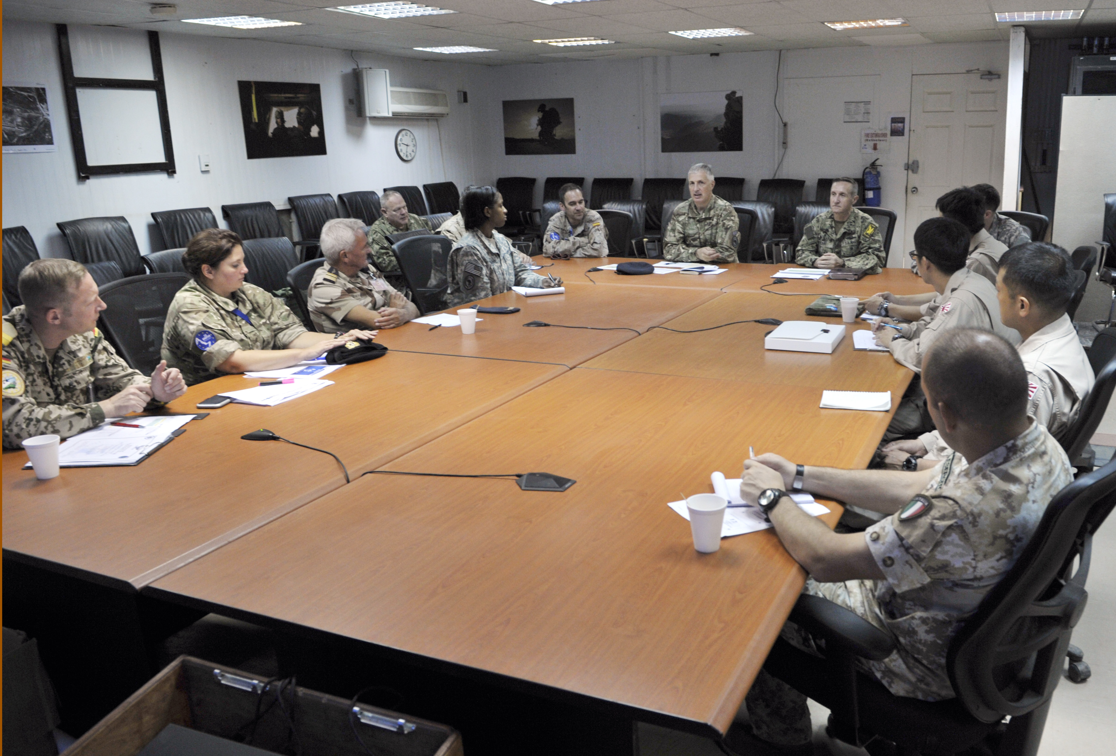 Logistics officers from eight nations meet together during the Combined Joint Task Force-Horn of Africa International Logistics Conference on Camp Lemonnier, Djibouti, March 31, 2015. CJTF-HOA hosted the first-ever meeting of its kind to discuss the logistical challenges in the East Africa region and to build cooperation between the international militaries operating in the region. (U.S. Air Force photo by Tech. Sgt. Ian Dean)