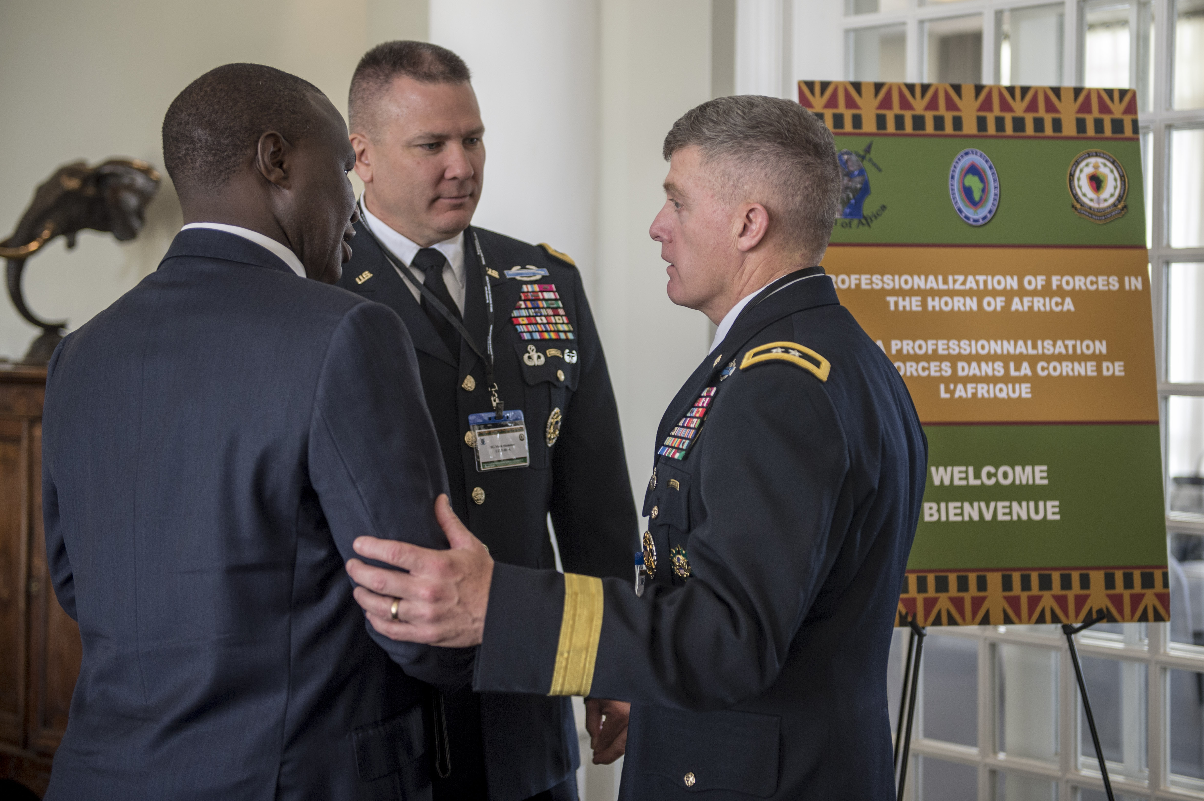 150408-F-QZ836-093 Kenya(April 08,2015)(From Right) Maj. Gen. Wayne W. Grigsby Jr., the former commander of Combined Joint Task Force Horn of Africa, introduces Maj. Gen Mark R. Stammer, CJTF-HOA commander, to an East African partner, during the Senior Leader Summit in Nairobi, Kenya, April 8, 2015.  (U.S. Air Force photo by Staff Sgt. Carlin Leslie)