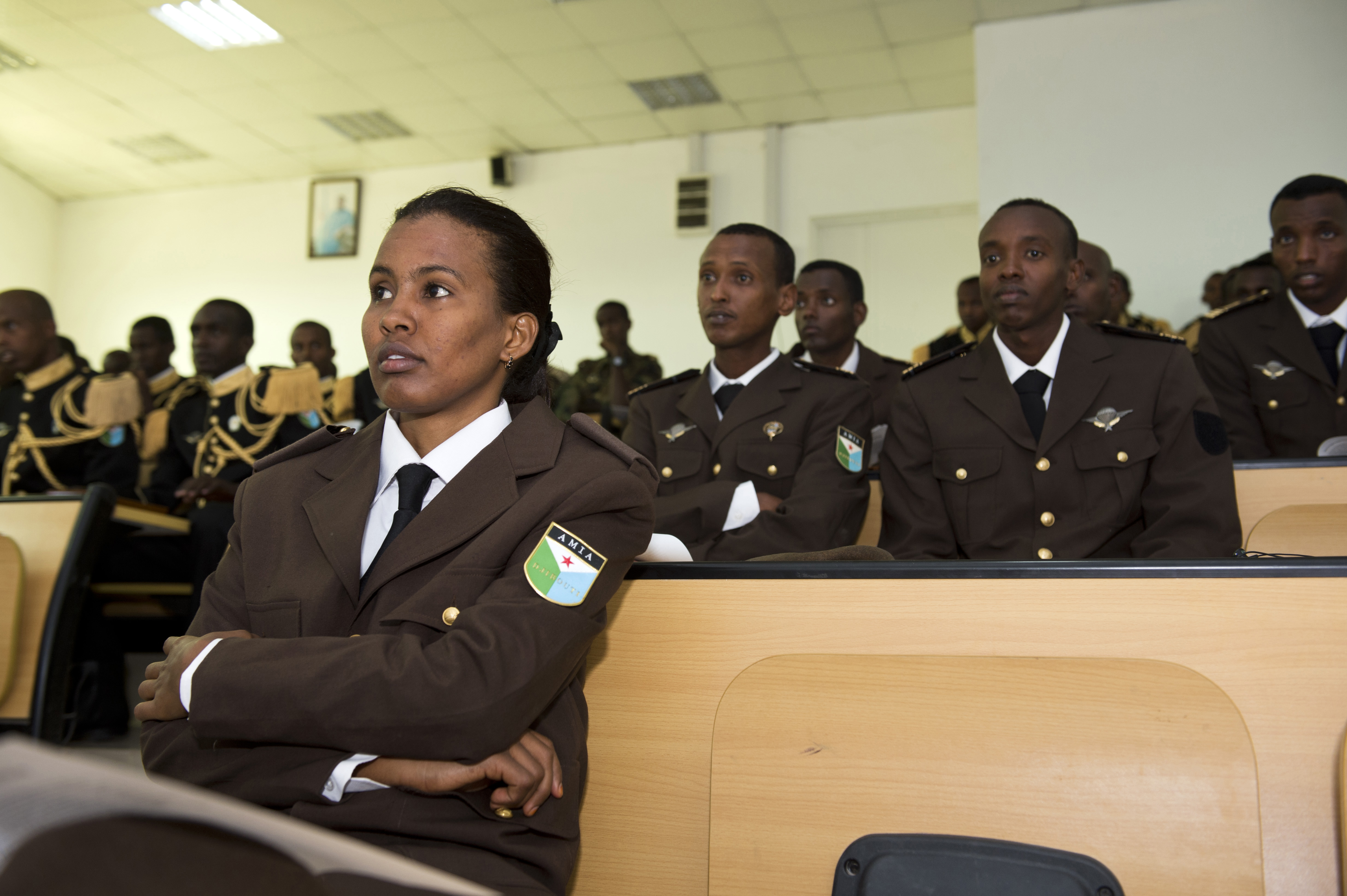 Djiboutian military and law enforcement cadets attend briefings at the first Geo-Strategy Meeting held at the Joint Military Academy of Arta, Arta, Djibouti, April 20, 2015. The meeting's focus was on the effects military and police actions can have on civilian populations, and the need to mitigate these affects through planning and preparation. (U.S. Air Force photo by Staff Sgt. Nathan Maysonet)
