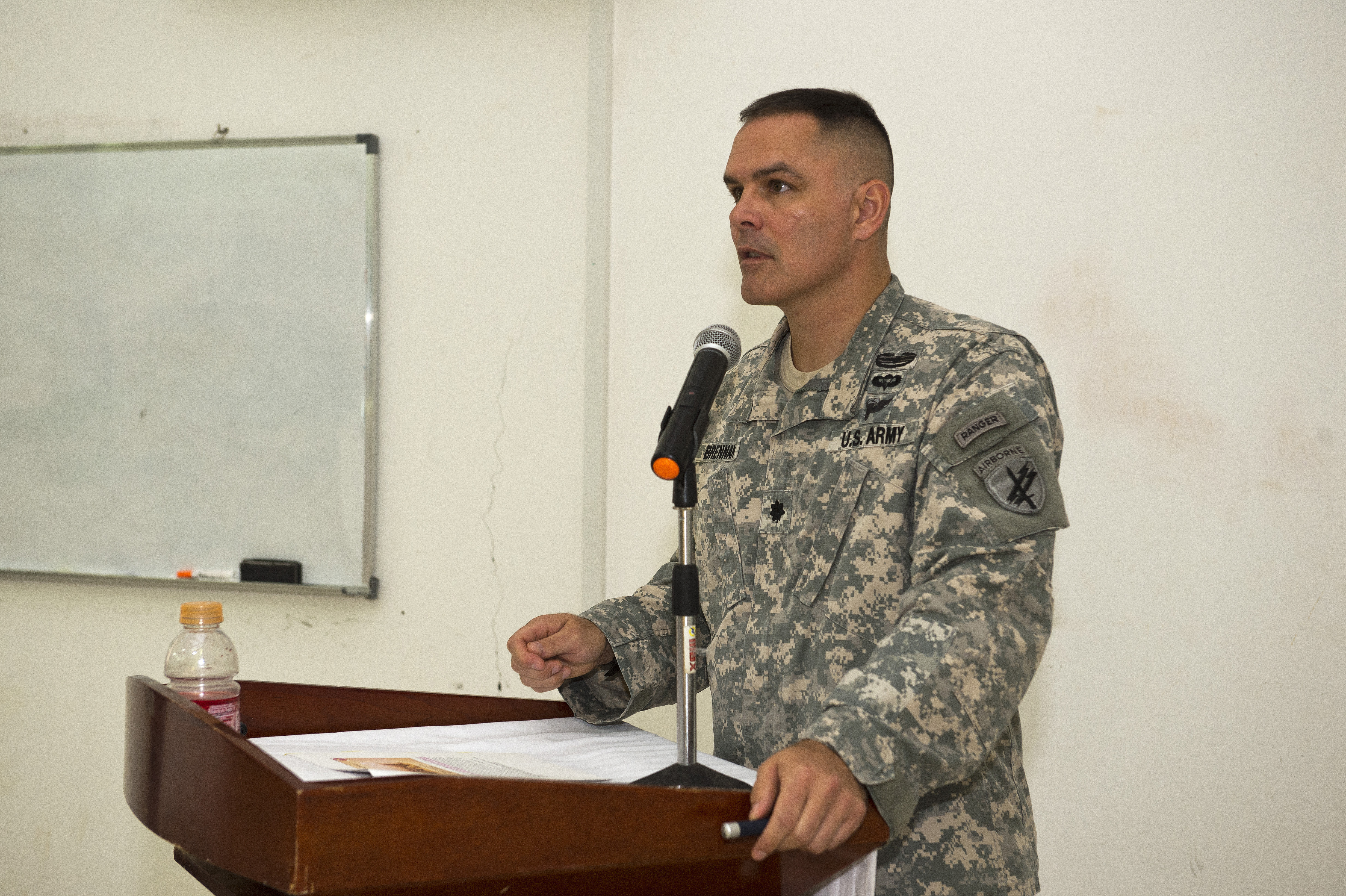 Lt. Col. Timothy Brennan, 404th Civil Affairs Battalion commander, Speaks at the first Geo-Strategy Meeting held at the Joint Military Academy of Arta, Arta, Djibouti, April 20, 2015. Brennan spoke to the cadets about the importance of planning, preparing and protecting civilians caught in the middle of military and law enforcements actions. (U.S. Air Force photo by Staff Sgt. Nathan Maysonet)