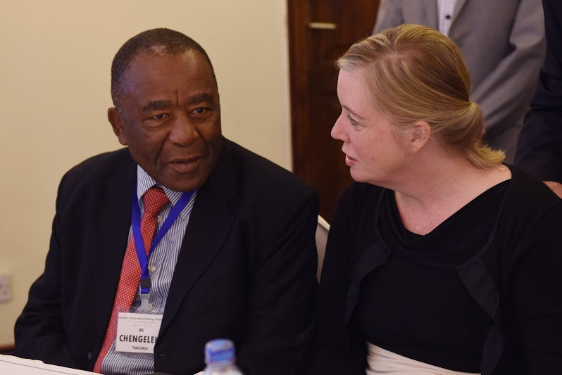 Brig. Gen. J.C. Chengelela, a Tanzania People's Defence Force commander, talks with Virginia Blaser, deputy chief of mission for the U.S. Embassy in Tanzania, before speaking to attendees at a Gender Mainstreaming seminar May 19, 2015.   The seminar is an annual weeklong event that brings together U.S. Army leaders with counterparts and decision makers from militaries throughout Africa to promote and discuss gender integration-related topics. (U.S. Air Force photo by Staff Sgt. Maria Bowman)