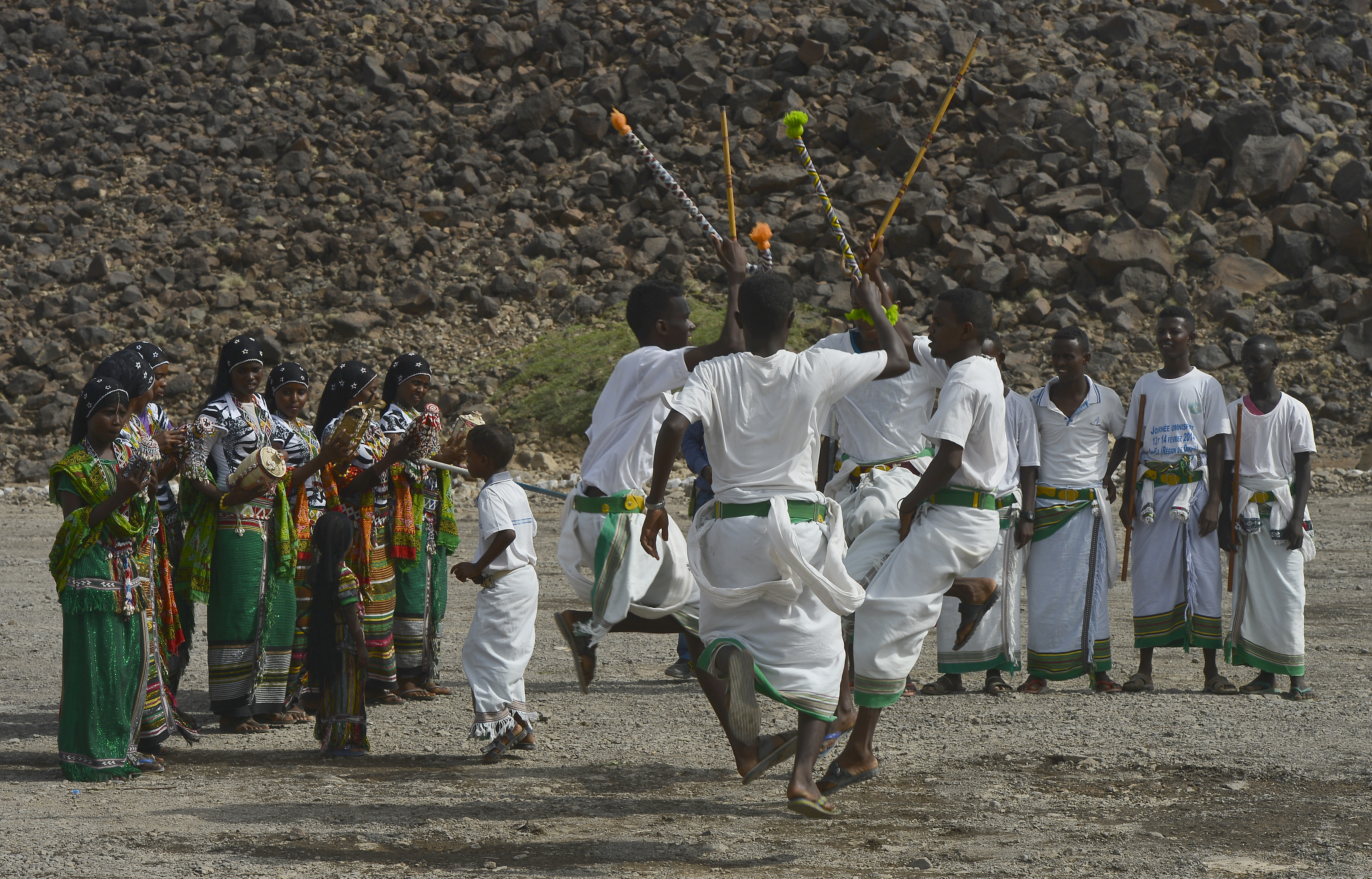 Issa tribesmen members perform a cultural dance during the 21st Induction Ceremony of the Sultan of Gobaad in Dikhil, Djibouti, May 22, 2015. Issa is one of two main ethnic groups in Djibouti. (U.S. Air Force photo by Senior Airman Nesha Humes)