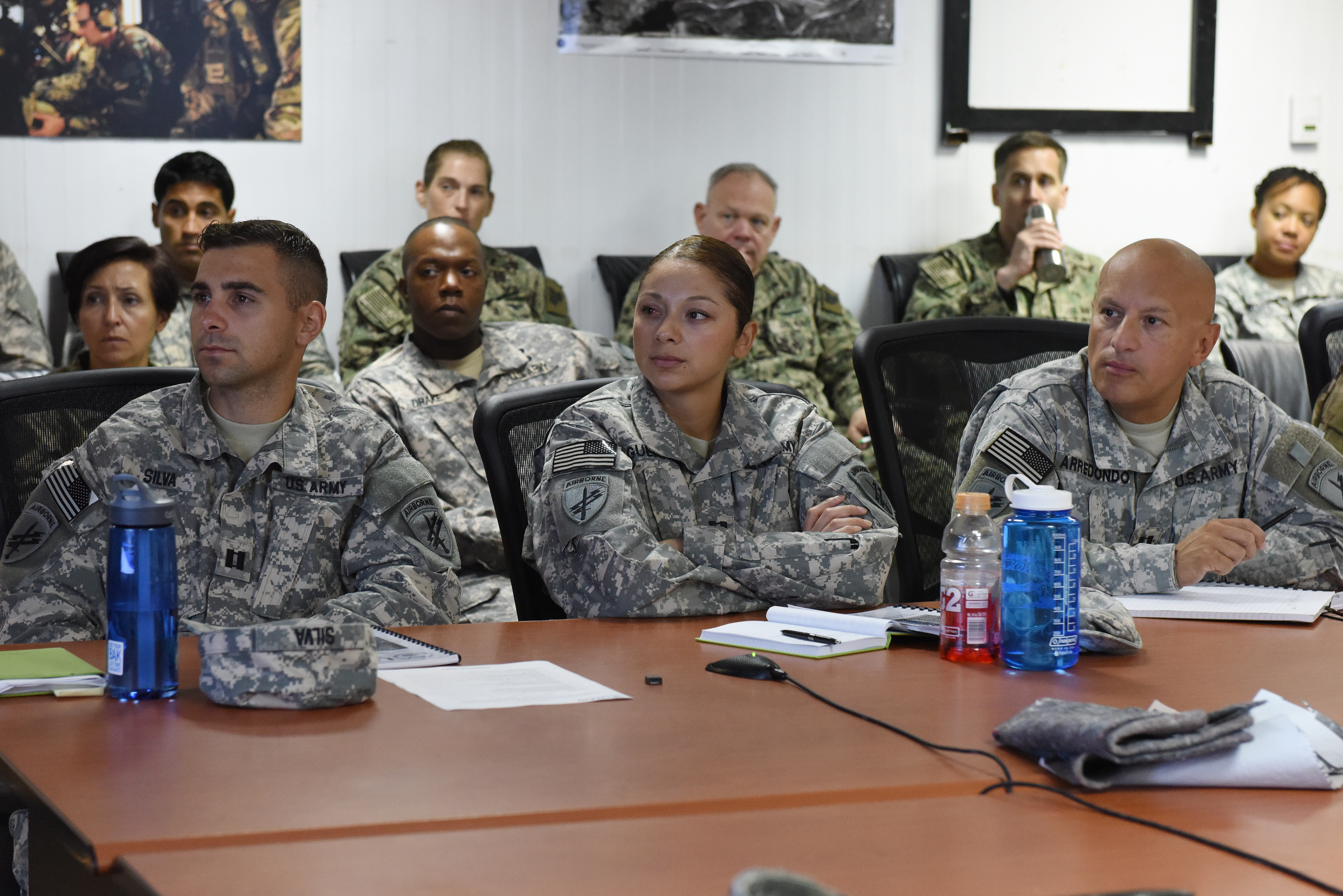 Combined Joint Task Force-Horn of Africa service members assigned at Camp Lemonnier, Djibouti, attend a joint humanitarian operations course June 1, 2015.  The course highlighted international disaster response best practices and the military's role when supporting foreign humanitarian assistance and disaster response operations.  (U.S. Air Force photo by Staff Sgt. Maria Bowman)