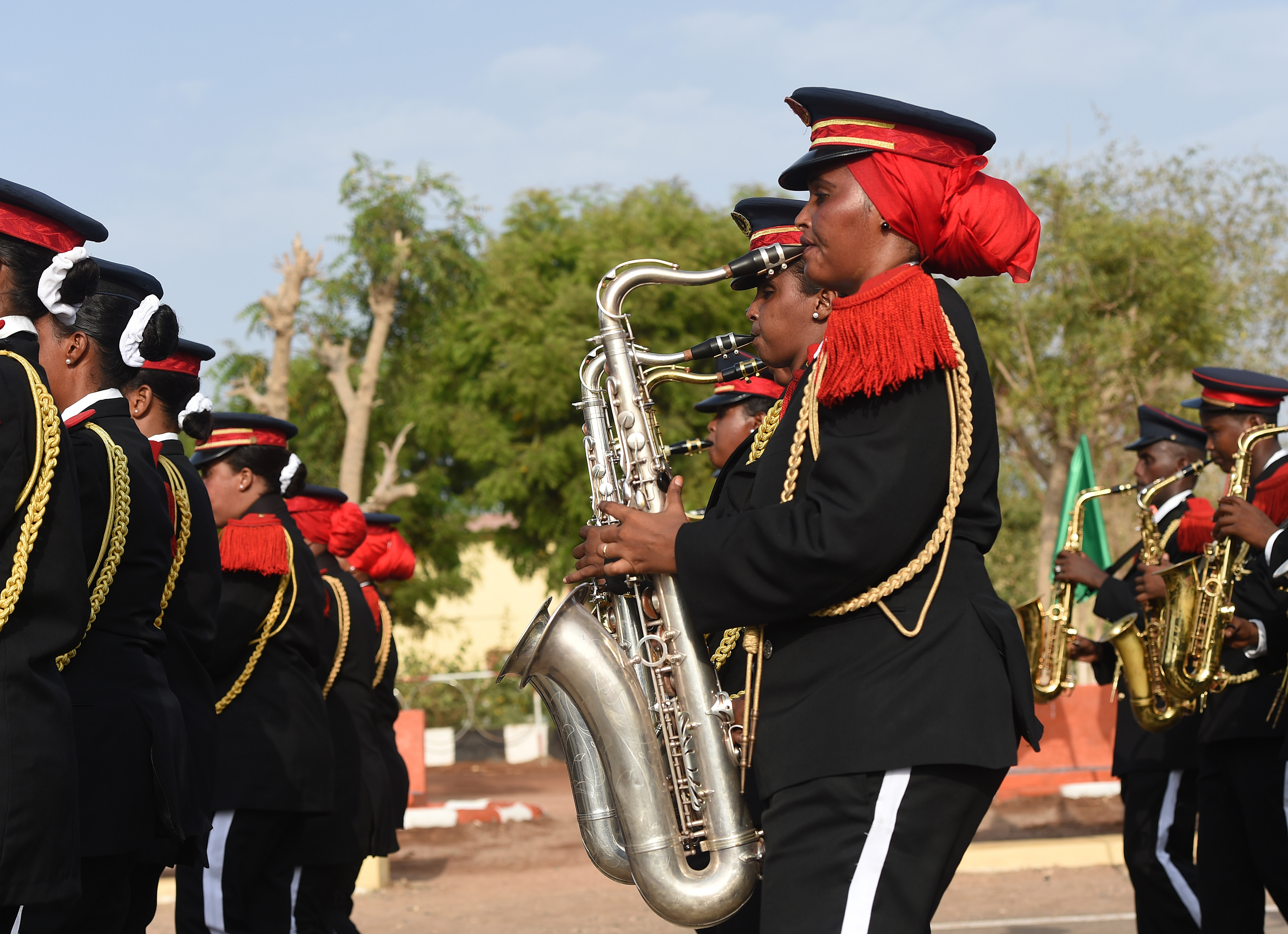 The Djiboutian Armed Forces (FAD) Marching Band performs during the Djiboutian Armed Forces' (FAD) 38th anniversary celebration June 6, 2015 at Camp Cheik Osman, Djibouti. The FAD was created June, 6, 1977, 21 days before becoming an independent country.  (U.S. Air Force photo by Senior Airman Nesha Humes)