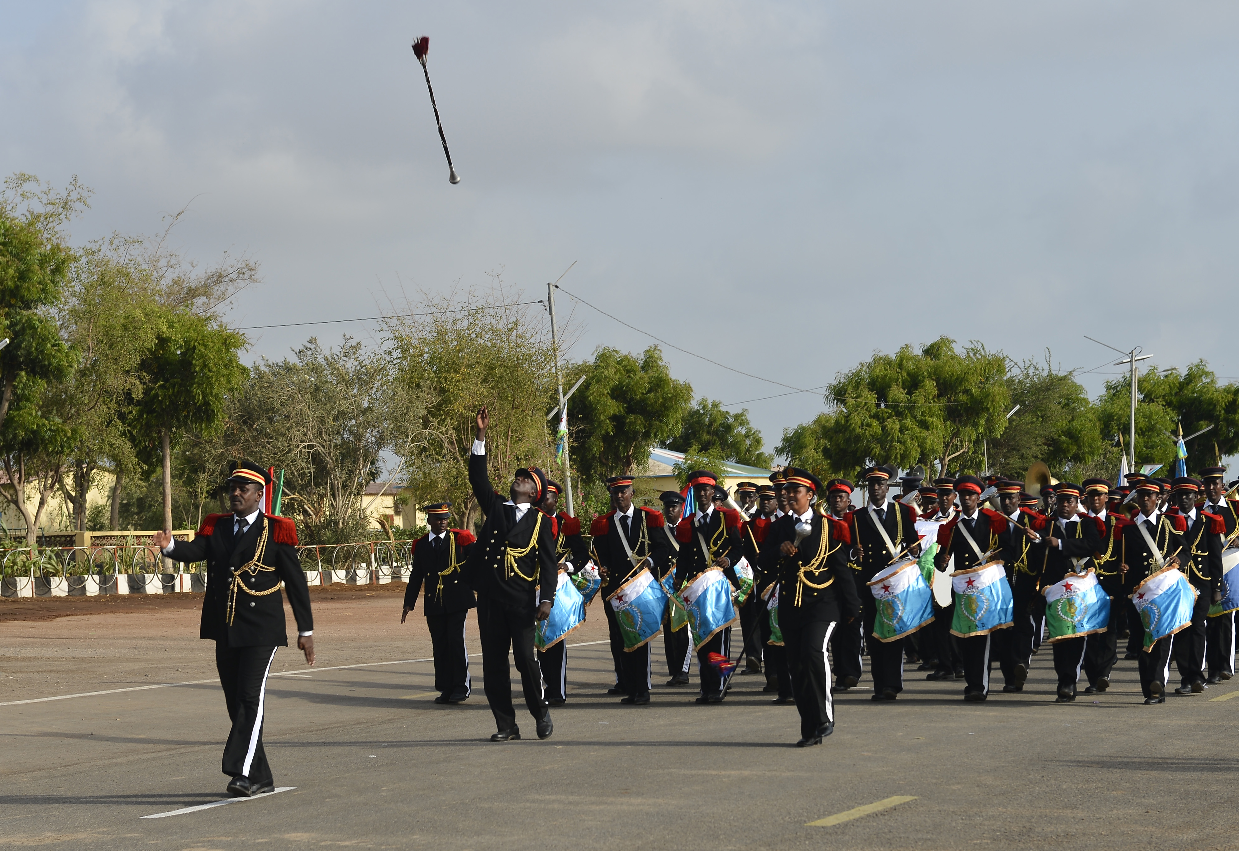 The Djiboutian Armed Forces (FAD) Marching Band performs during the FAD's 38th anniversary celebration June 6, 2015 at Camp Cheik Osman, Djibouti,. The FAD invited leadership from their partner nations in honor of their independence day. (U.S. Air Force photo by Senior Airman Nesha Humes)