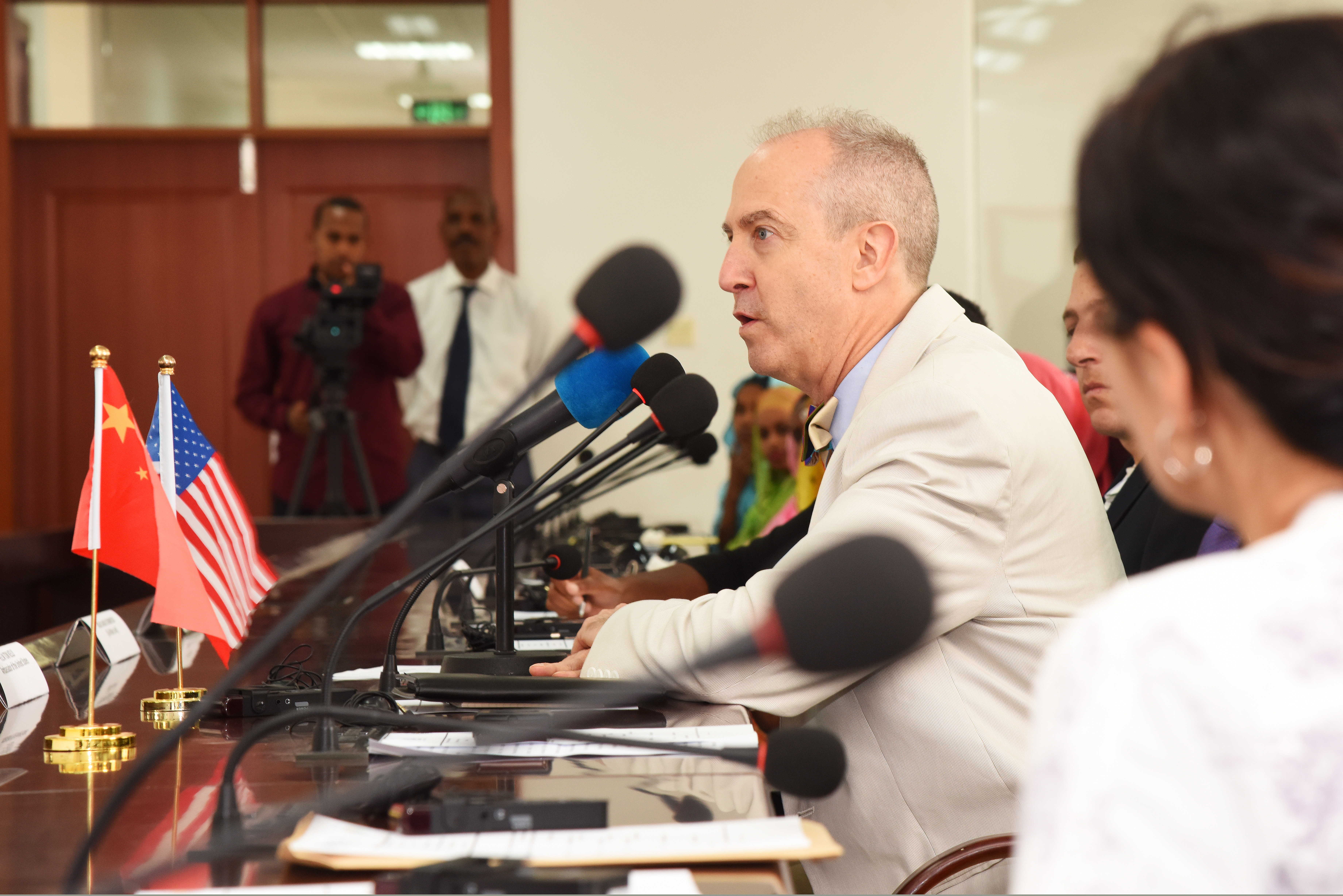 Tom Kelly, U.S. Ambassador to Djibouti, speaks about the importance of learning multiple languages during a graduation ceremony at the Institute of Diplomatic Studies in Djibouti, June 14, 2015.  During the last academic year, the graduates have been studying English, Chinese or Amharic.  (U.S. Air Force photo by Staff Sgt. Maria Bowman)