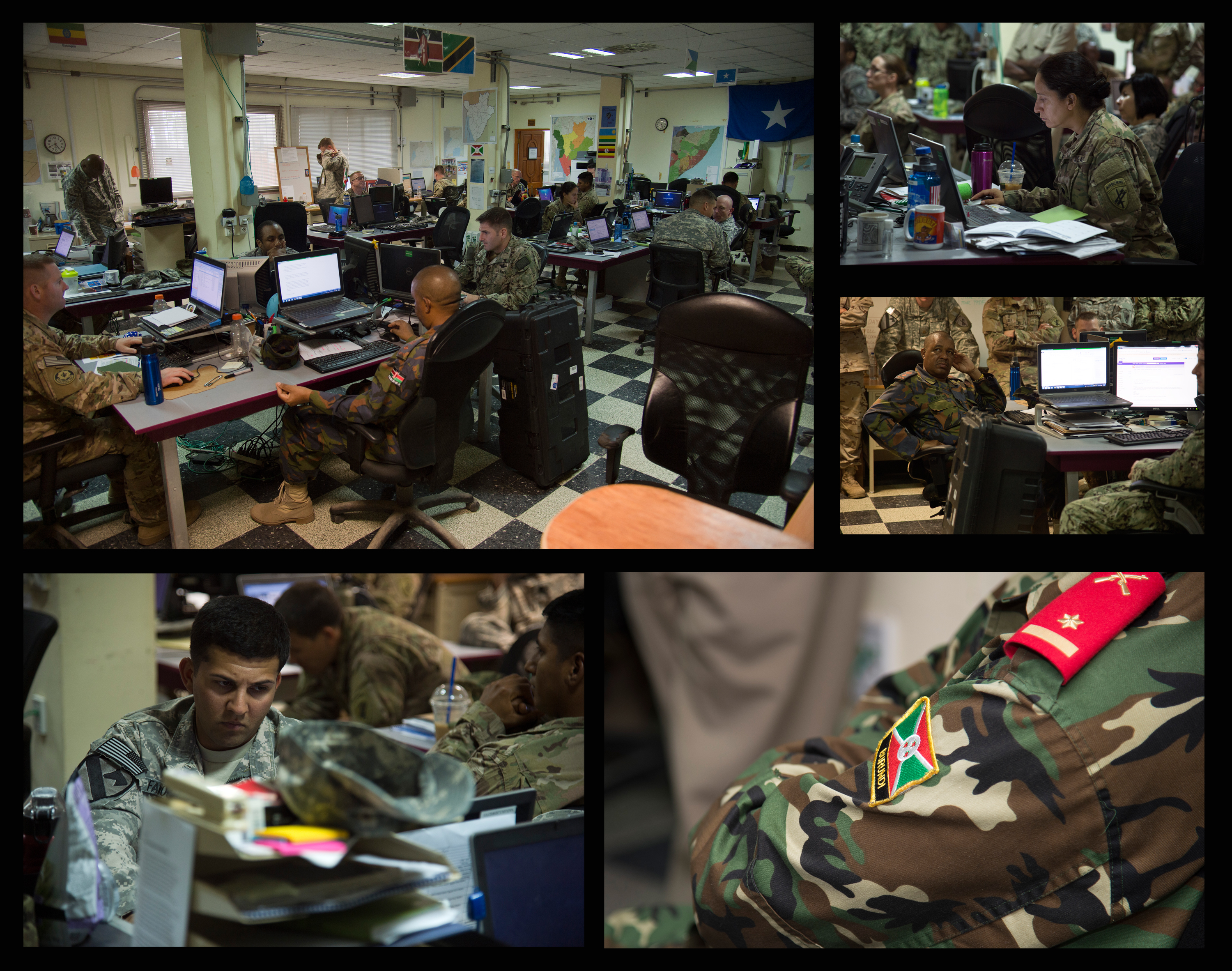 The Combined Joint Task Force-Horn of Africa Fusion Action Cell is comprised of service members from the U.S., Europe and East Africa working together to setup military-to-military projects and civilian support initiatives in partner countries throughout the Horn of Africa. The FAC personnel are separated into country desks composed of subject matter experts and foreign liaison officers who are responsible for streamlining the planning and coordination of projects in their respective country.  (U.S. Air Force graphic by Staff Sgt. Nathan Maysonet)