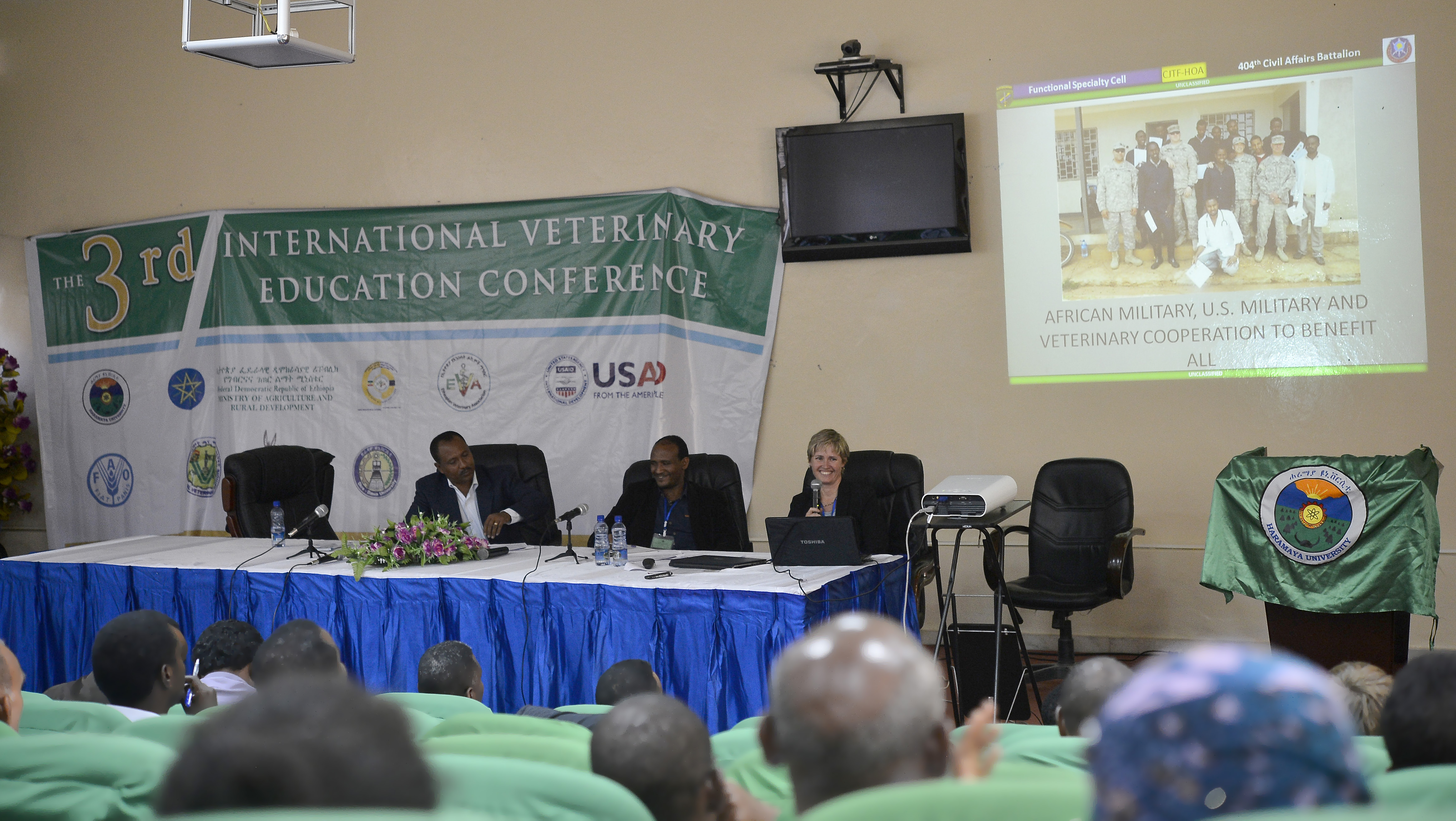 U.S. Army Lt. Col. Patricia Rasmussen, 404th Civil Affairs Battalion veterinarian, briefs during the Third International Veterinary Education Conference at Haramaya University in Ethiopia, June 18, 2015. The CA team spoke about maximizing and leveraging veterinary assets to increase capacity in resource limited regions. (U.S. Air Force photo by. Senior Airman Nesha Humes)