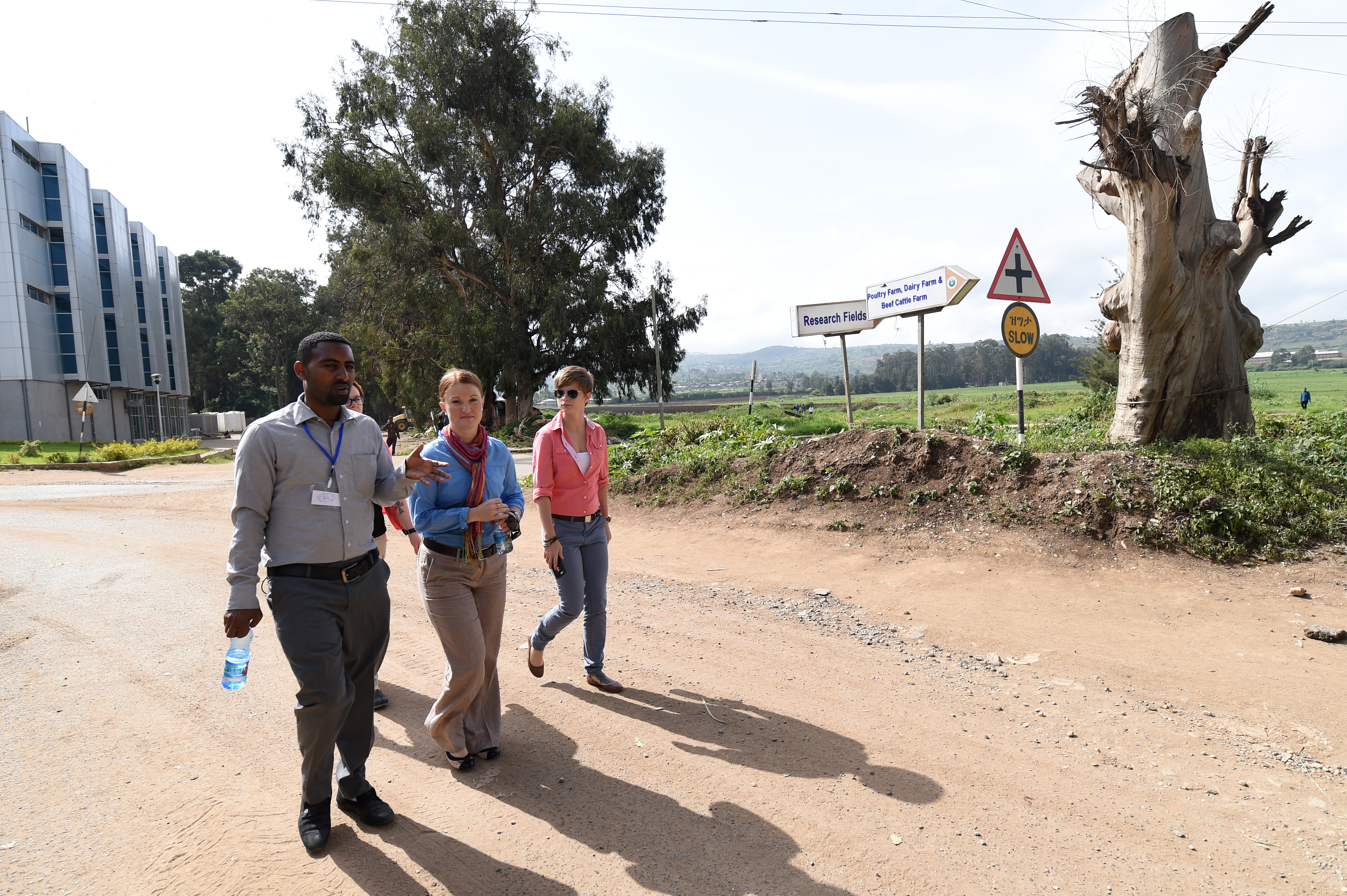 Hailemariam Kefyalew, left, Haramaya University College of Veterinary Medicine assistant professor gives a campus tour to U.S. Army 404th Civil Affairs Battalion Capt. Jodi Collins, veterinarian and Sgt. Stephanie Taylor, left, veterinary technician, in Dire Dawa, Ethiopia, June 19, 2015. The CA team, assigned to Combined Joint Task Force- Horn of Africa, was invited to attend the Third International Veterinary Education Conference. Established in 2003, CVM houses dairy, beef, poultry, swine, sheep and goat farms for demonstrations and research purposes. (U.S. Air Force photo by. Senior Airman Nesha Humes)