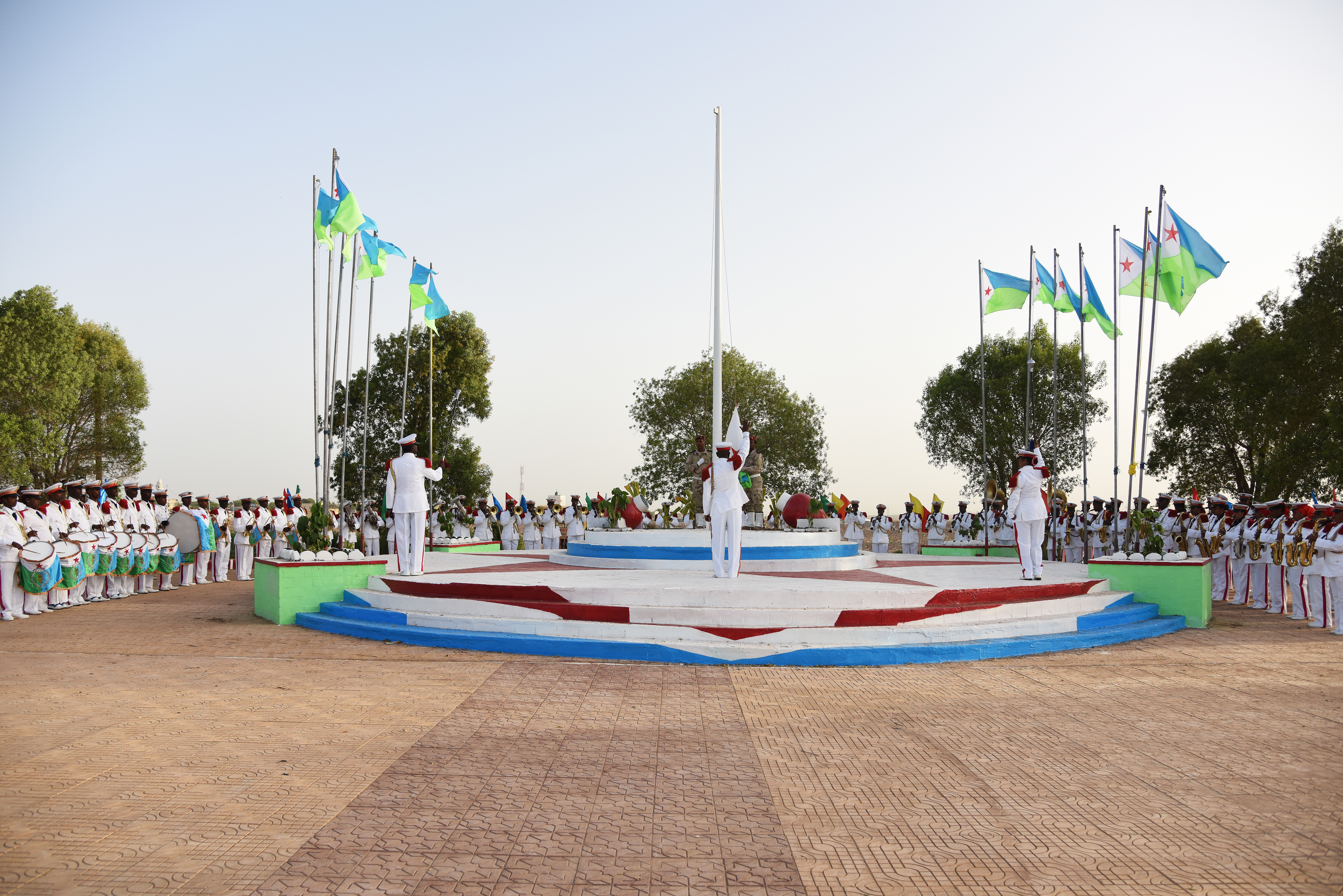 A Djiboutian marching band plays festive music during a Djibouti independence day celebration June 27, 2015, marking 38 years since it became a sovereign nation.  The military parade included a marching band and troops showcasing its different military equipment.  (U.S. Air Force photo by Staff Sgt. Maria Bowman)