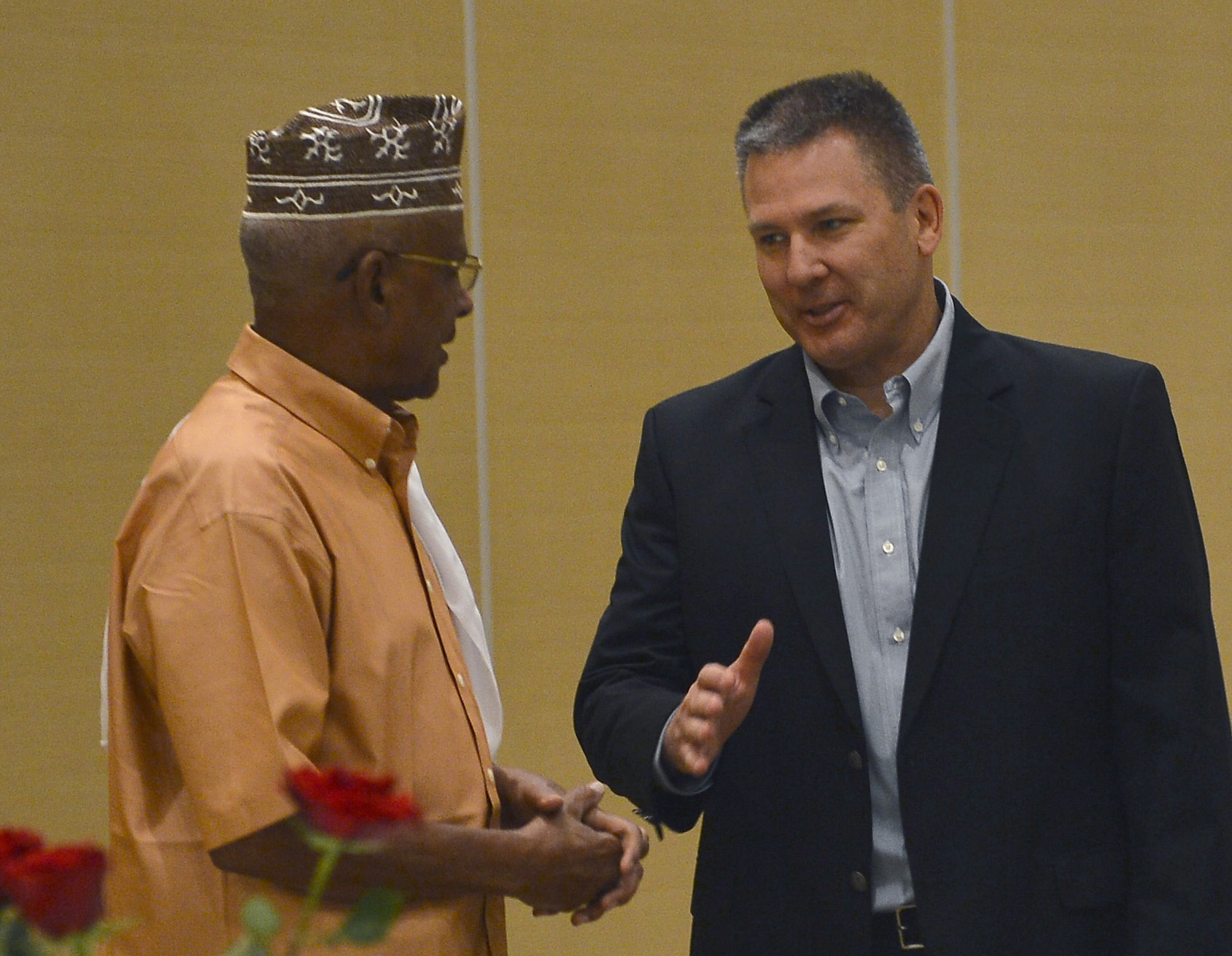 U.S. Army Maj. Gen. Mark Stammer, right, Combined Joint Task Force-Horn of Africa Commander and Gen. Zakaria Cheikh Ibrahim, Djiboutian Armed Forces Chief of Defense, talk during an Iftar dinner at the Kempinski Hotel, Djibouti, June 29, 2015. CJTF-HOA has hosted an annual, fast-breaking Iftar dinner to honor its partner nation's Ramadan since 2006. (U.S. Air Force photo by Senior Airman Nesha Humes)