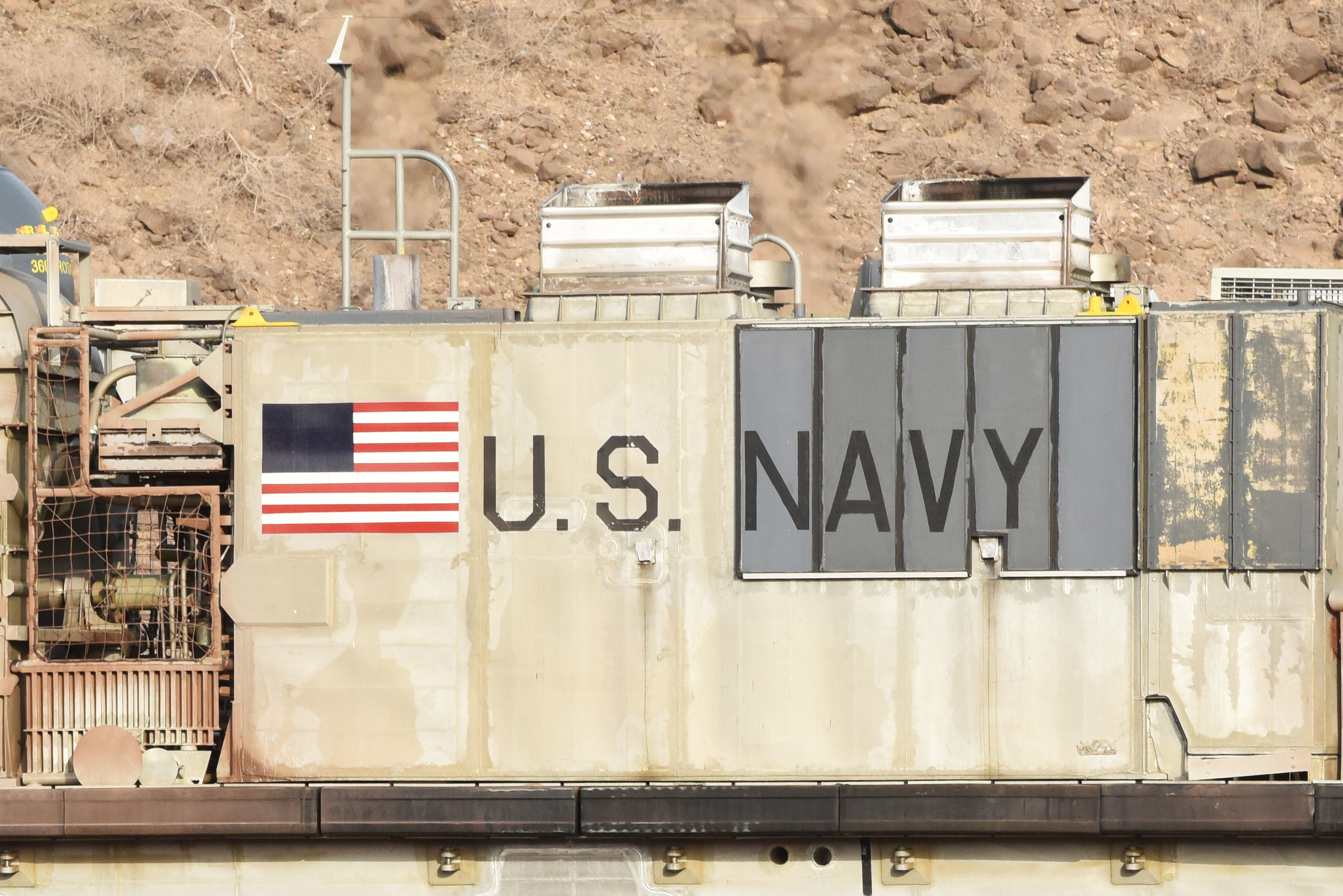A U.S. Navy Landing Craft Air Cushion (LCAC) sits on a beach in Arta, Djibouti, July 20, 2015, while U.S. Marines from the 15th Marine Expeditionary Unit exited and their equipment were unloaded from the vessel. LCACs for USS Anchorage delivered U.S. Marines from the 15th Marine Expeditionary Unit and their equipment for sustainment training. (U.S. Air Force photo by Staff Sgt. Maria Bowman)