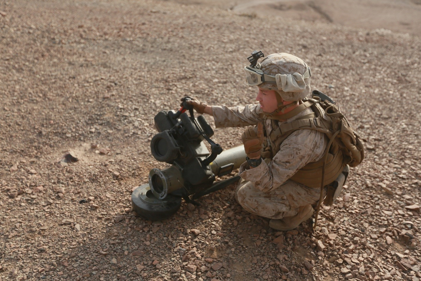 150728-M-ZZ999-069   ARTA BEACH, Djibouti (July 28, 2015) U.S. Marine Lance Cpl. Steven Benavidez prepares a Javelin shoulder-fired anti-tank missile system for use during sustainment training. Benavidez is a scout with Combined Anti-Armor Team 1, Weapons Company, Battalion Landing Team 3rd Battalion, 1st Marine Regiment, 15th Marine Expeditionary Unit. Elements of the 15th MEU are ashore in Djibouti for sustainment training to maintain and enhance the skills they developed during their pre-deployment training period. The 15th MEU is currently deployed in support of maritime security operations and theater security cooperation efforts in the U.S. 5th and 6th Fleet areas of operation. (U.S. Marine Corps photo by Gunnery Sgt. Eddy Arce/Released)