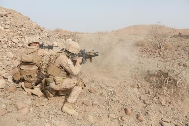 150729-M-TJ275-391   ARTA BEACH, Djibouti (July 29, 2015) U.S. Marines with Light Armored Reconnaissance Detachment, Battalion Landing Team 3rd Battalion, 1st Marine Regiment, 15th Marine Expeditionary Unit, engage targets in a fire-and-maneuver exercise during sustainment training. Elements of the 15th MEU are ashore in Djibouti for sustainment training to maintain and enhance the skills they developed during their pre-deployment training period. The 15th MEU is currently deployed in support of maritime security operations and theater security cooperation efforts in the U.S. 5th and 6th Fleet areas of operation. (U.S. Marine Corps photo by Sgt. Steve H. Lopez/Released)