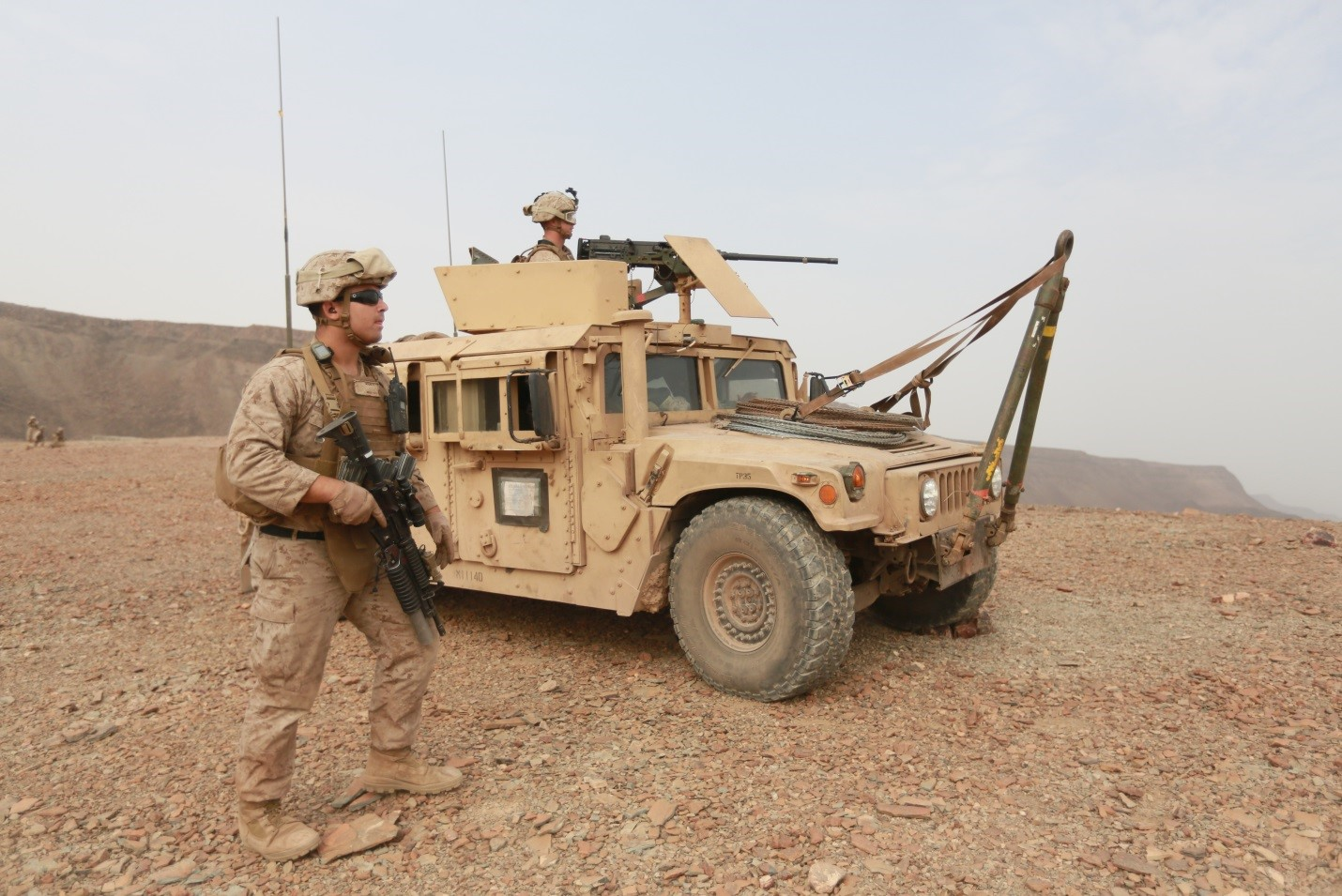 150728-M-ZZ999-148   ARTA BEACH, Djibouti (July 28, 2015) U.S. Marines with Combined Anti-Armor Team 1, Weapons Company, Battalion Landing Team 3rd Battalion, 1st Marine Regiment, 15th Marine Expeditionary Unit, set up a support-by-fire position during sustainment training. Elements of the 15th MEU are ashore in Djibouti for sustainment training to maintain and enhance the skills they developed during their pre-deployment training period. The 15th MEU is currently deployed in support of maritime security operations and theater security cooperation efforts in the U.S. 5th and 6th Fleet areas of operation. (U.S. Marine Corps photo by Gunnery Sgt. Eddy Arce/Released)