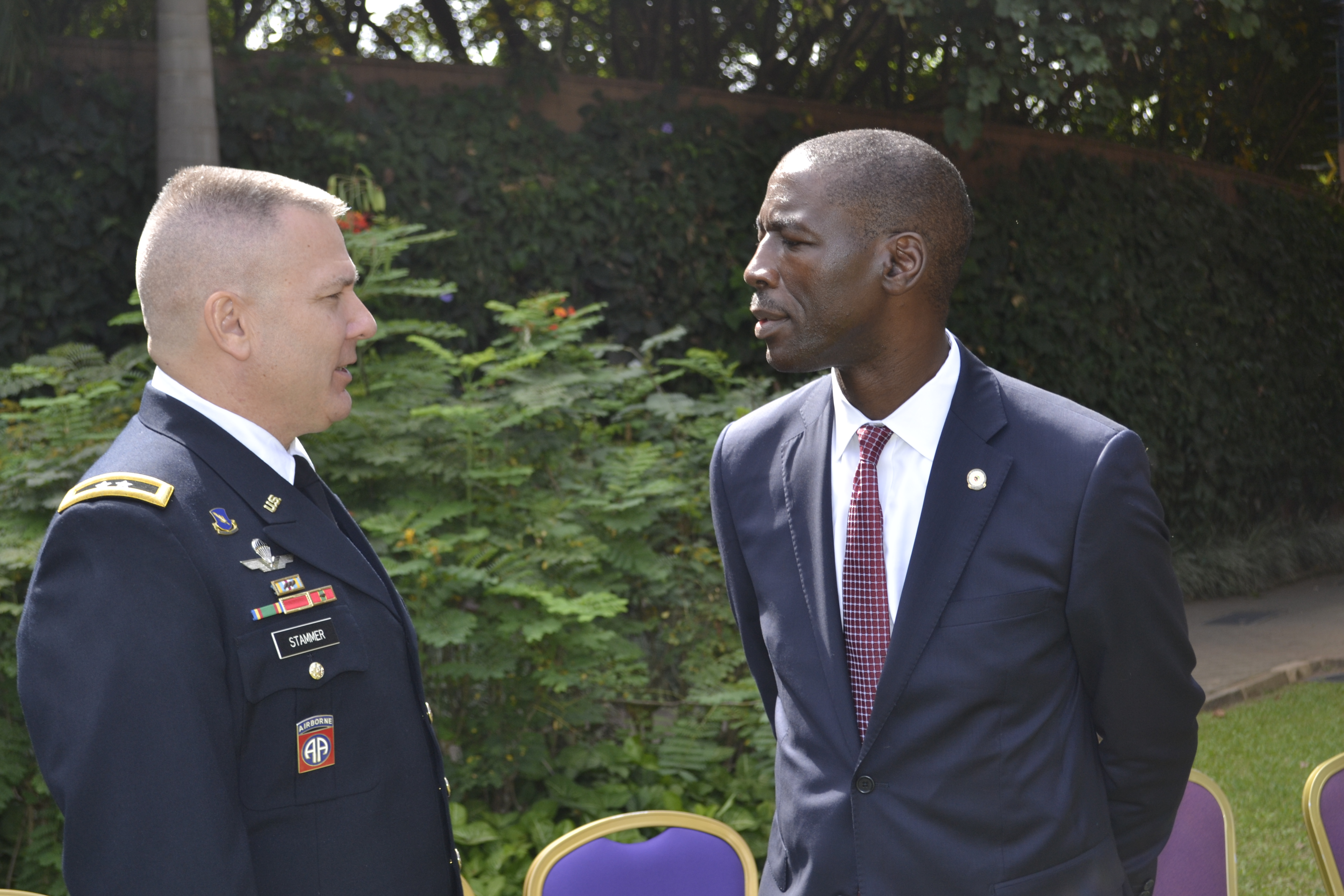 Dr. Raymond Gilpin, Academic Dean at the Africa Center for Strategic Studies speaks with Major General Mark R. Stammer, Commanding General, Combined Joint Task Force – Horn of Africa, during the Africa Center for Strategic Studies Managing Security Resources in Africa Seminar, Kampala, Uganda. (CJTF-HOA photo, Released)