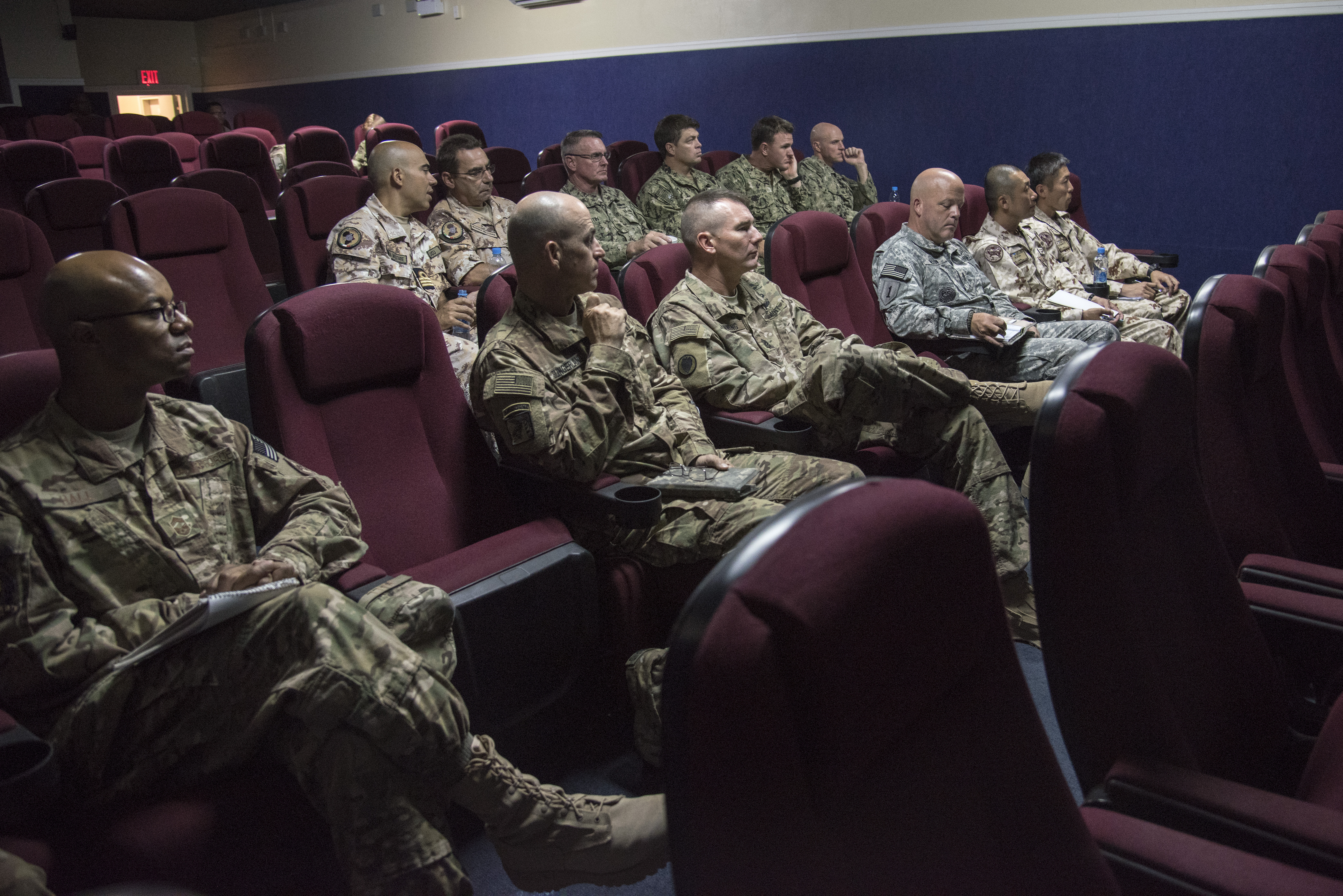 Senior enlisted leaders (SEL) composed of U.S., Japanese and Italian service members, attend the Joint Forces Senior Enlisted Leader Professional Development (JFSELPD) course at Camp Lemonnier, Djibouti, Oct.1, 2015. The JFSELPD is an all-services course aimed at mentoring and educating the highest-ranking SELs serving Combined Joint Task Force-Horn of Africa and Camp Lemonnier. (U.S. Air Force photo by Staff Sgt. Nathan Maysonet)