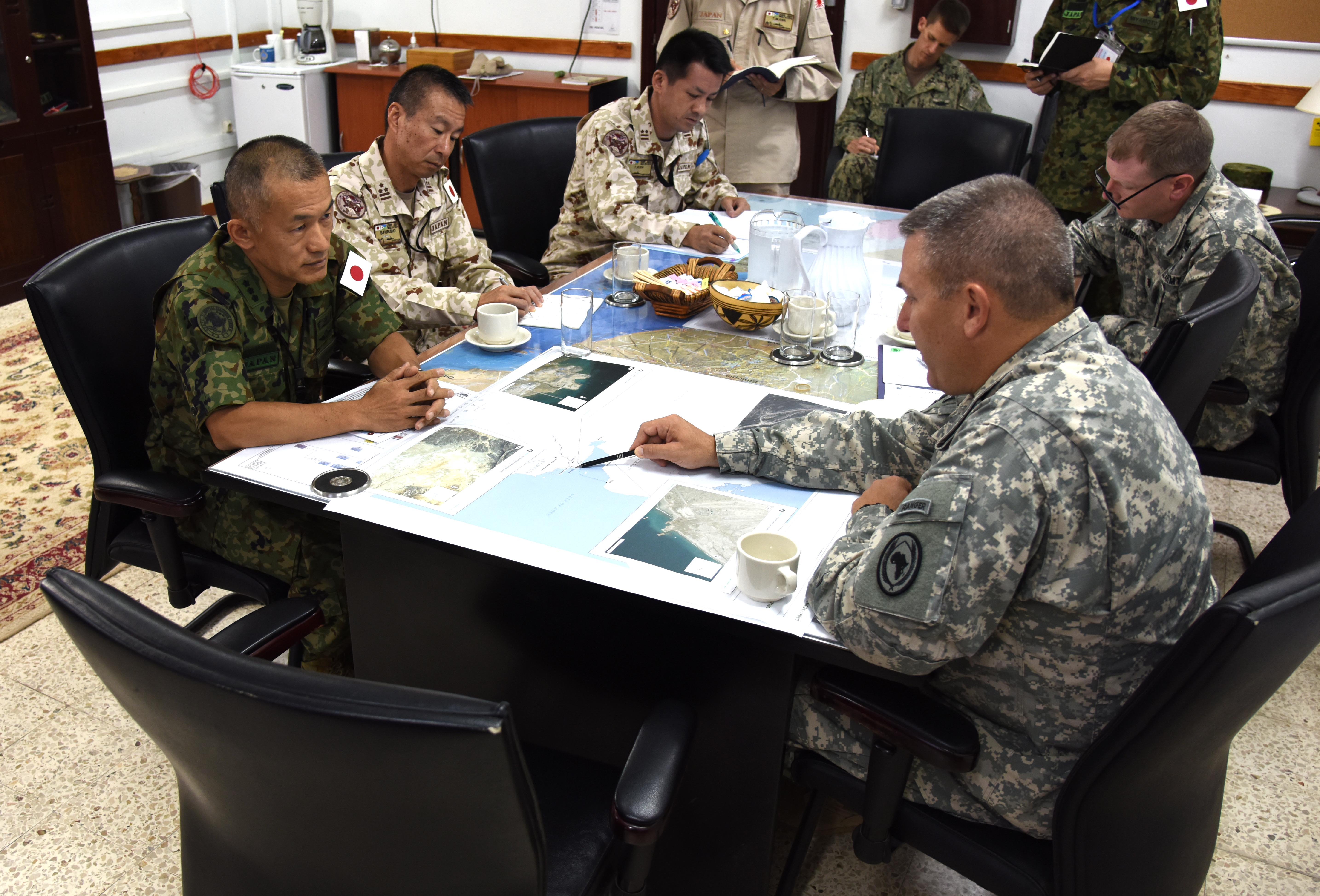 151009-N-DJ346-015 CAMP LEMONNIER, Djibouti (October 9, 2015) Major General Mark R. Stammer, Commanding General, Combined Joint Task Force – Horn of Africa, met with Lt. Gen. Hiromichi Kawamata, Commanding General, Japan Ground Self Defense Force, Central Readiness Force, to discuss future objectives and information sharing opportunities. General Stammer told General Kawamata that the Japanese Defense Forces are and remain valued friends and partners of CJTF-HOA. (U.S. Navy photo by Chief Mass Communication Specialist Donald W. Randall/Released)