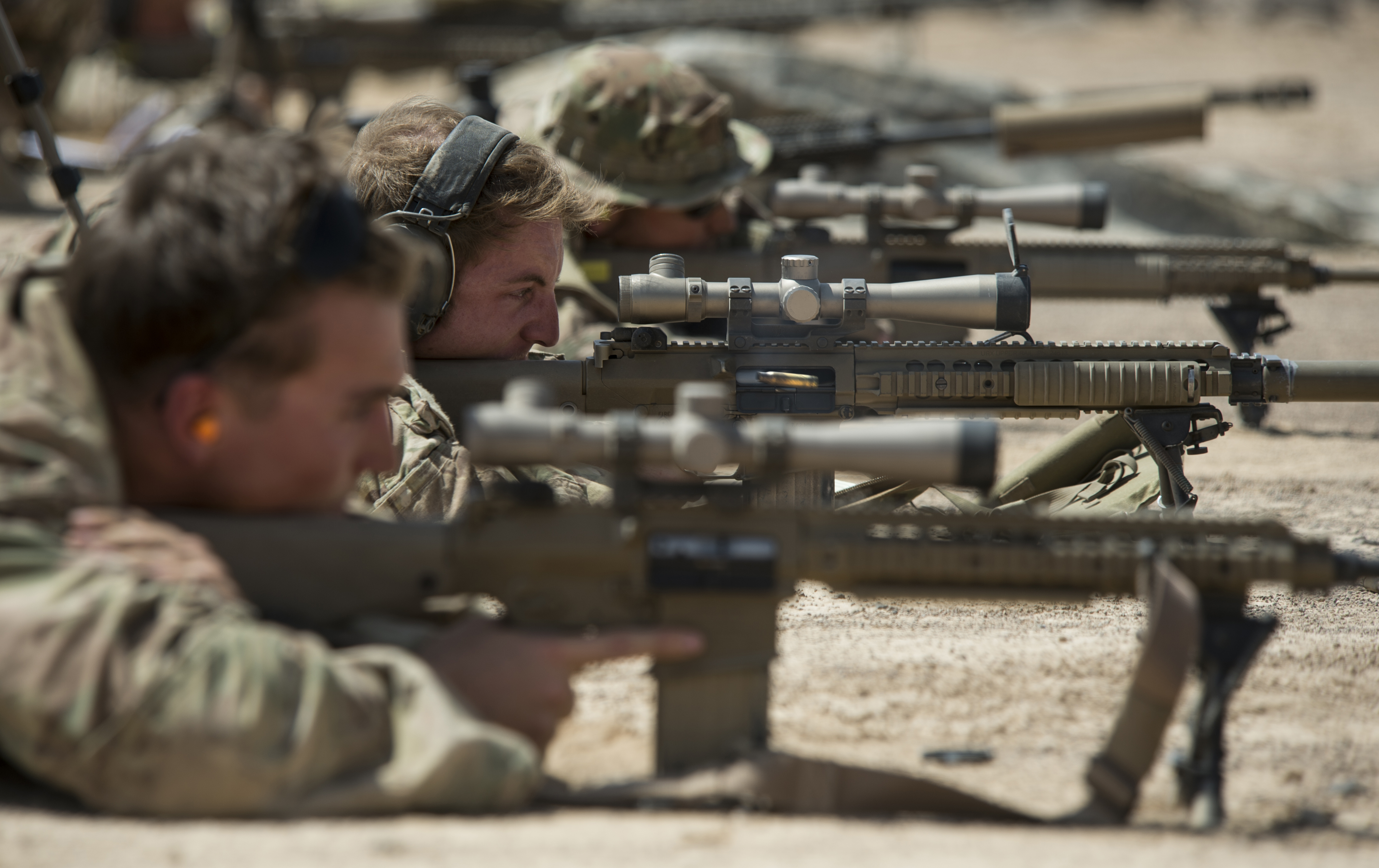 U.S. Army Alpha Company, 3rd Battalion, 15th Infantry Regiment scout snipers fire M110 sniper rifles Oct. 14, 2015, at Arta, Djibouti. ACO, assigned to Combined Joint Task Force-Horn of Africa, is the East Africa Response Force, the quick response force for all of the countries within the HOA. (U.S. Air Force photo by Senior Airman Peter Thompson/Released)