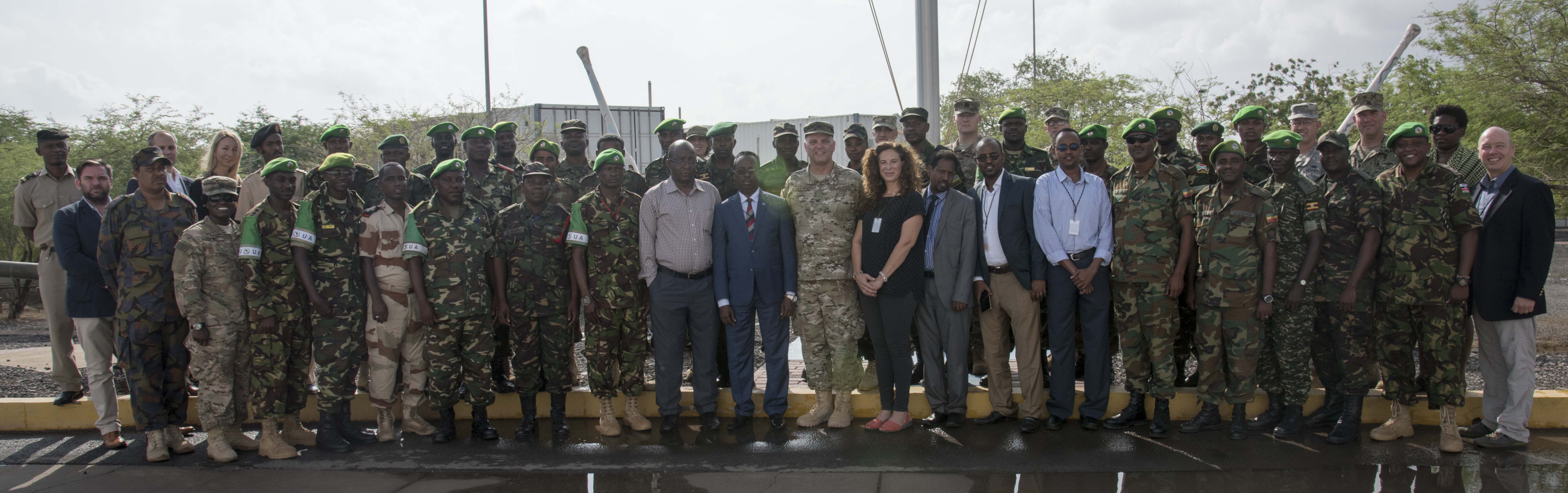 Members from the African Union Mission to Somalia, partner nations, United Nations, and the Department of State joined their U.S. military colleagues at the Public Information Officer Conference, hosted by Combined Joint Task Force-Horn of Africa, at Camp Lemonnier, Djibouti, Nov. 4, 2015. The conference enabled members from more than nine nations to gather and exchange best practices on achieving mission objectives in the information environment.