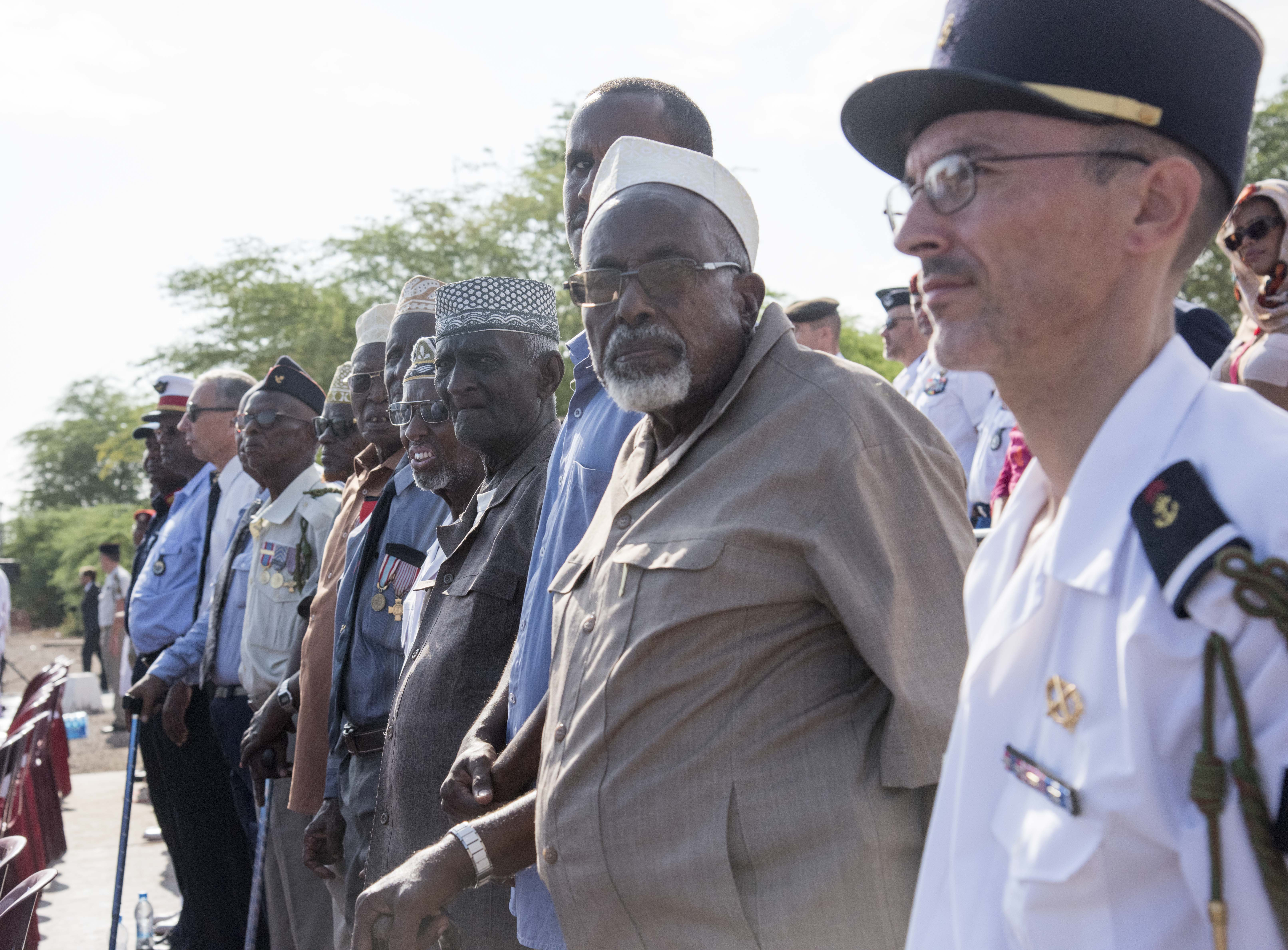 Veterans of the French Somali Battalion observe events during the Armistice Day ceremony at the French Marine Base, Nov. 11, 2015. The veterans from World War II were guests of honor for the event.