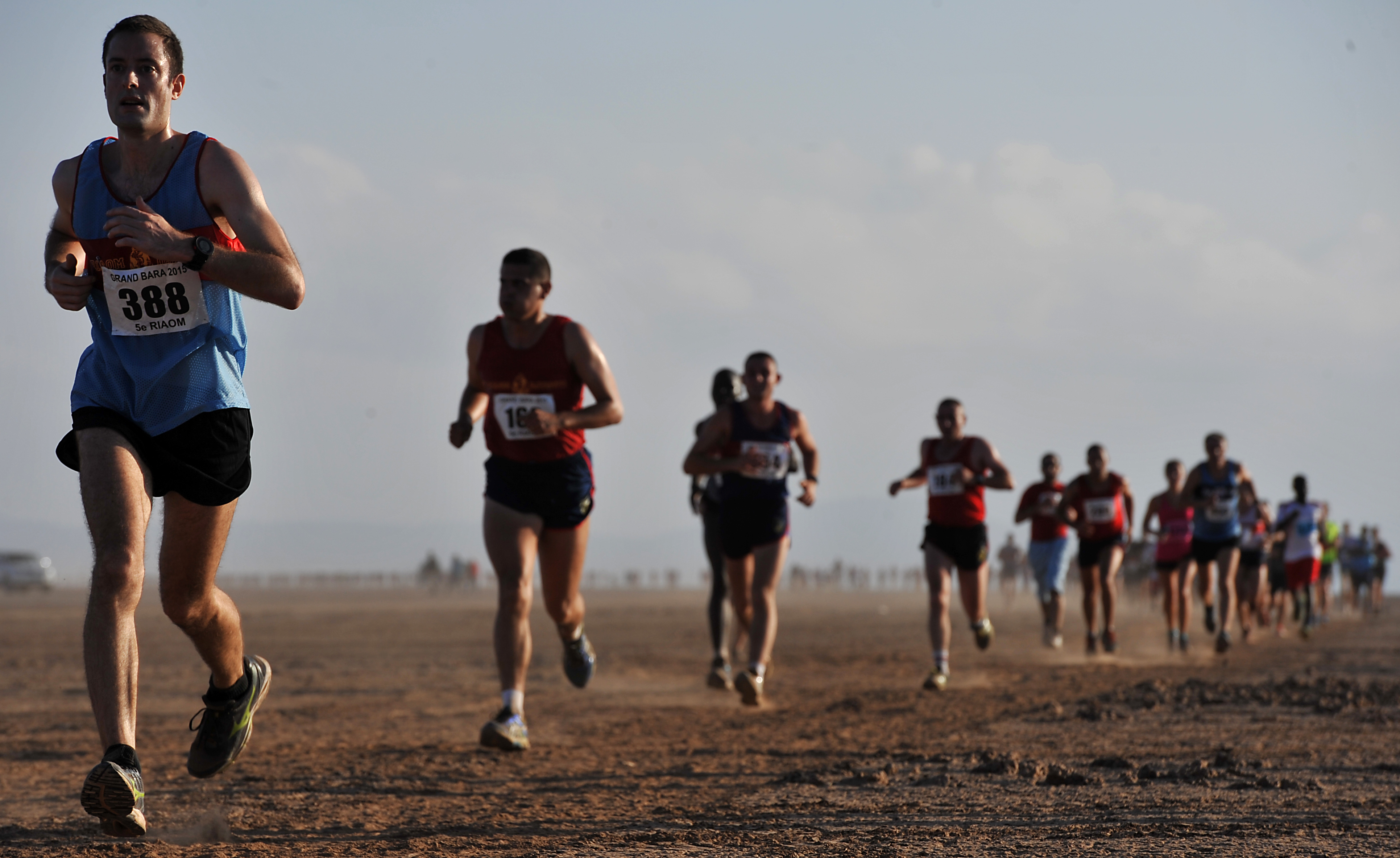 Runners make their way across the Grand Bara Desert during the Annual Grand Bara 15K race Dec. 17, 2015, in Djibouti. The race was originally established in 1982 as an internal event for the French, organized by the 13th demi-brigade of the French Foreign Legion until 2010. When the Legionaires left Djibouti, the French 5th inter-army regiment took over. (U.S. Air Force photo by Tech. Sgt. Dan DeCook)