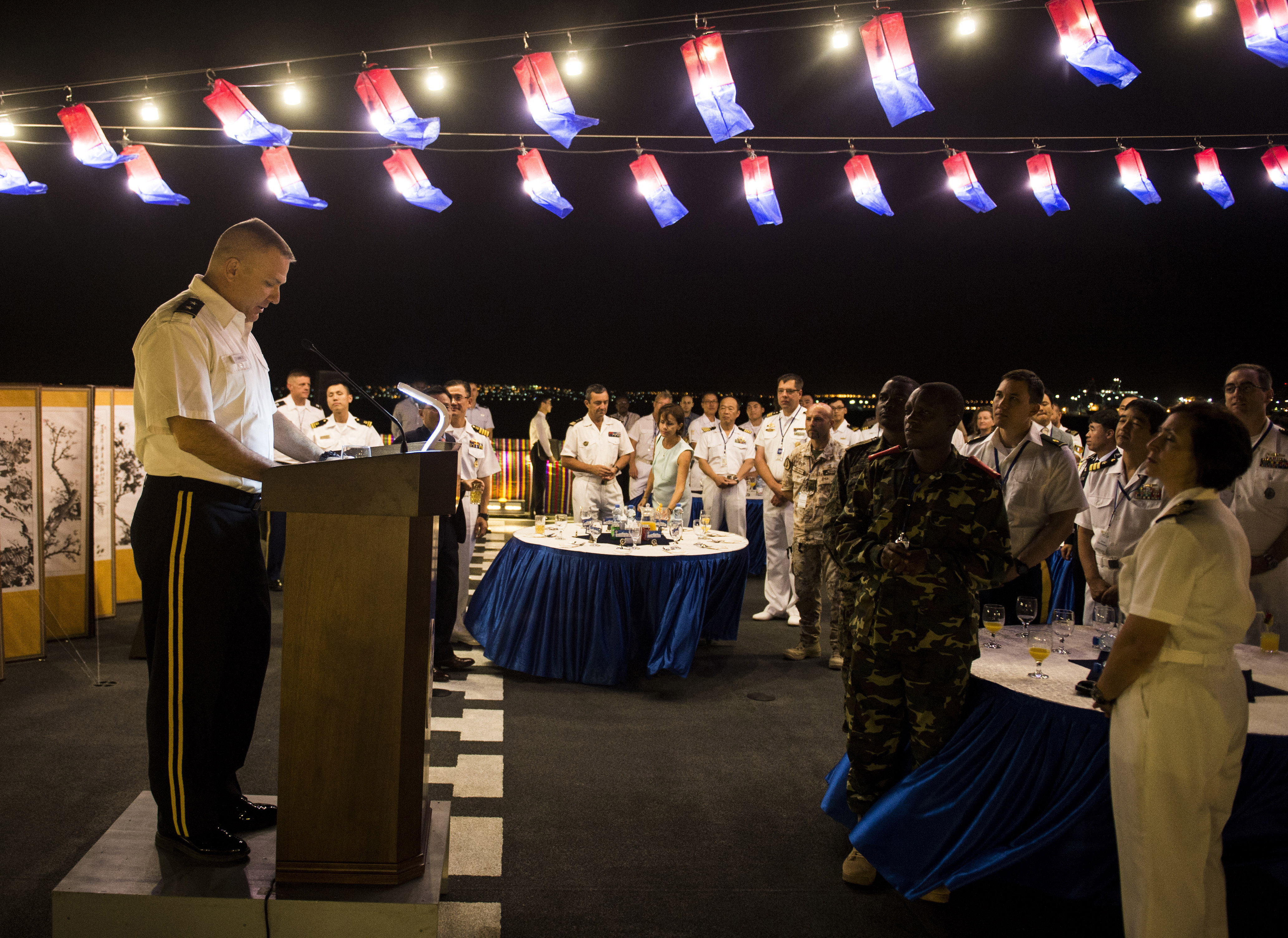 Maj. Gen. Mark Stammer, Combined Joint Task Force-Horn of Africa commanding general, gives a toast during a reception on board the Republic of Korea's Navy Choi Young Destroyer Dec. 21, 2015, in Djibouti. The ship's primary mission is to provide aid for ship convoy operations, provide maritime security operations for counter piracy and sustain diplomatic alliances with foreign countries. The Choi Young commenced its counter-piracy operation on Nov. 27, 2015. The ship and its crew were critical in the success during Operation Dawn of Gulf of Aden on Jan. 1, 2011 when its visit, board, search, and seizure team rescued hostages from pirates on the ROK-operated chemical tanker, Samho Jewelry. (U.S. Air Force photo by Senior Airman Peter Thompson)