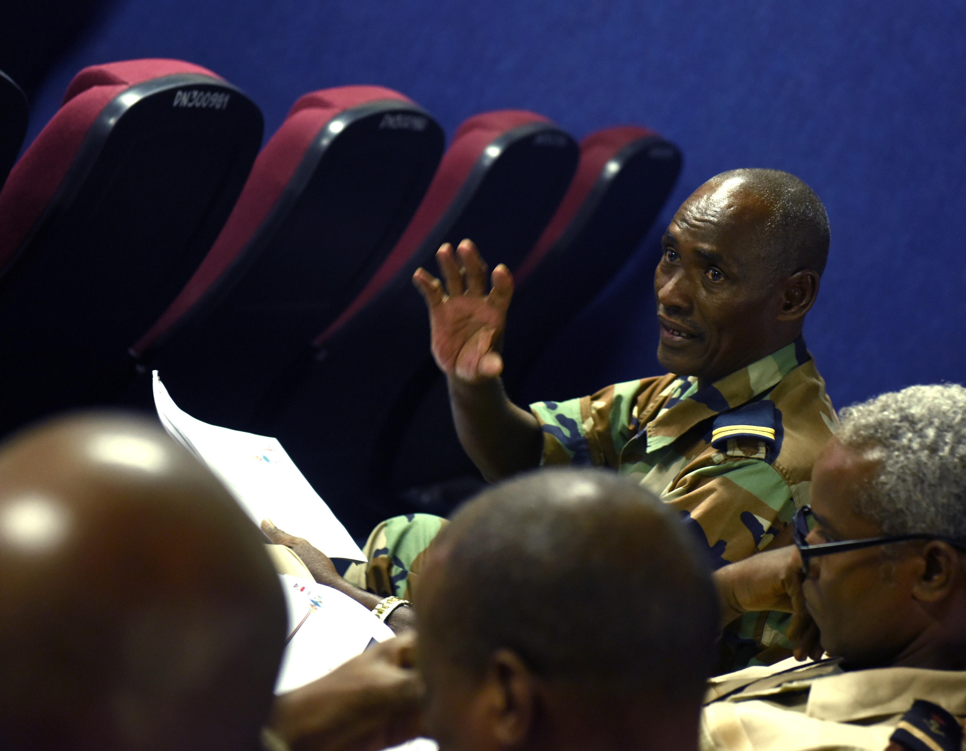 Sgt. Maj. Ibrahim Yabeh, Djibouti Armed Forces senior enlisted leader, speaks with other SELs Dec. 29, 2015, at Camp Lemonnier, Djibouti. Visits like this are intended to develop U.S. and other countries' military leaders by facilitating professional growth and networking. (U.S. Air Force photo by Staff Sgt. Kate Thornton)