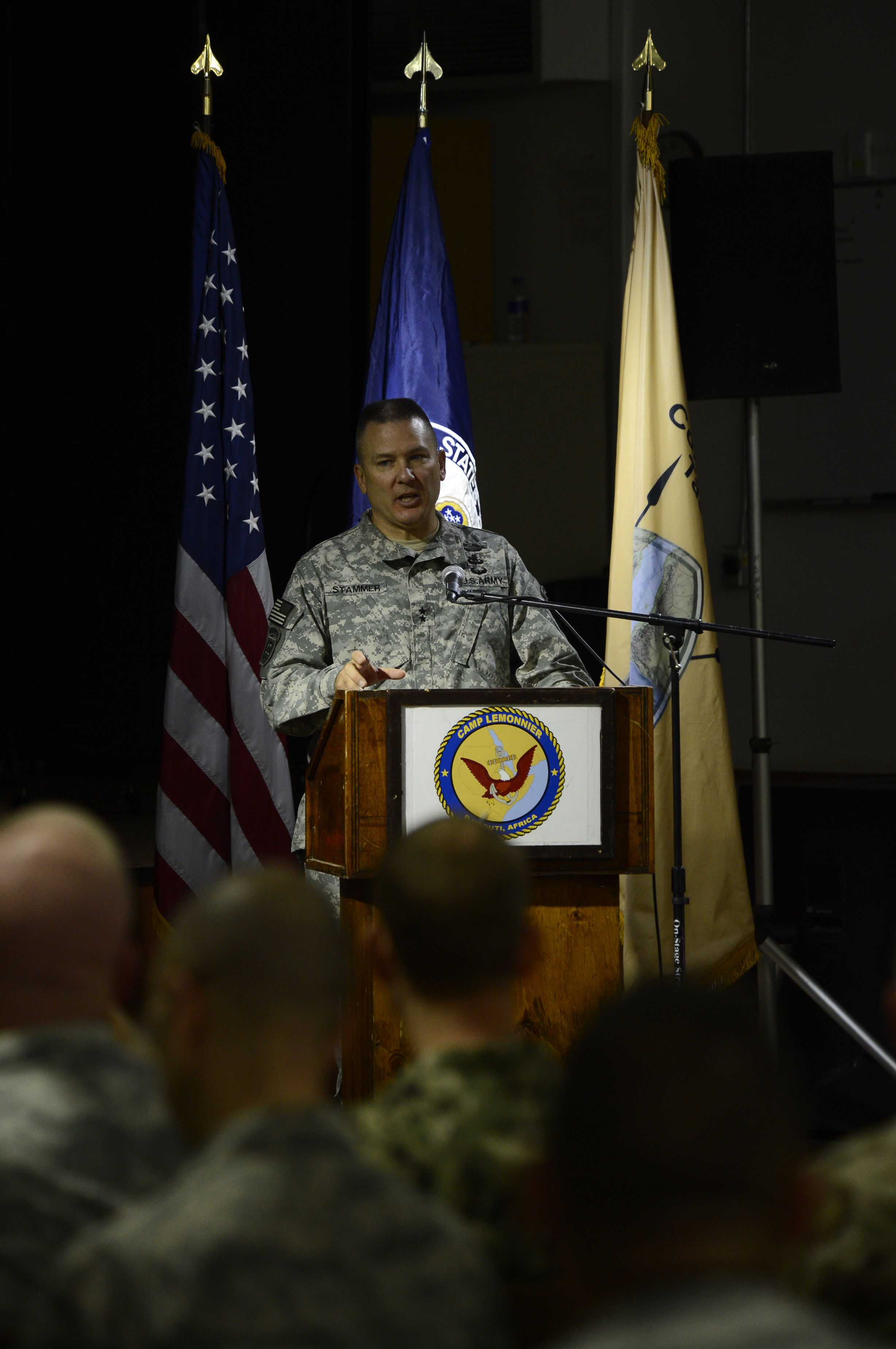 U.S. Army Maj. Gen. Mark Stammer, Combined Joint Task Force-Horn of Africa commanding general, welcomes attendees to the East Africa Security Synchronization Conference Jan. 20, 2016, at Camp Lemonnier, Djibouti. The EASSC is the only conference between U.S. Department of State and U.S. military representatives dedicated to aligning military and political priorities for East Africa. (U.S. Air Force photo by Senior Airman Peter Thompson)