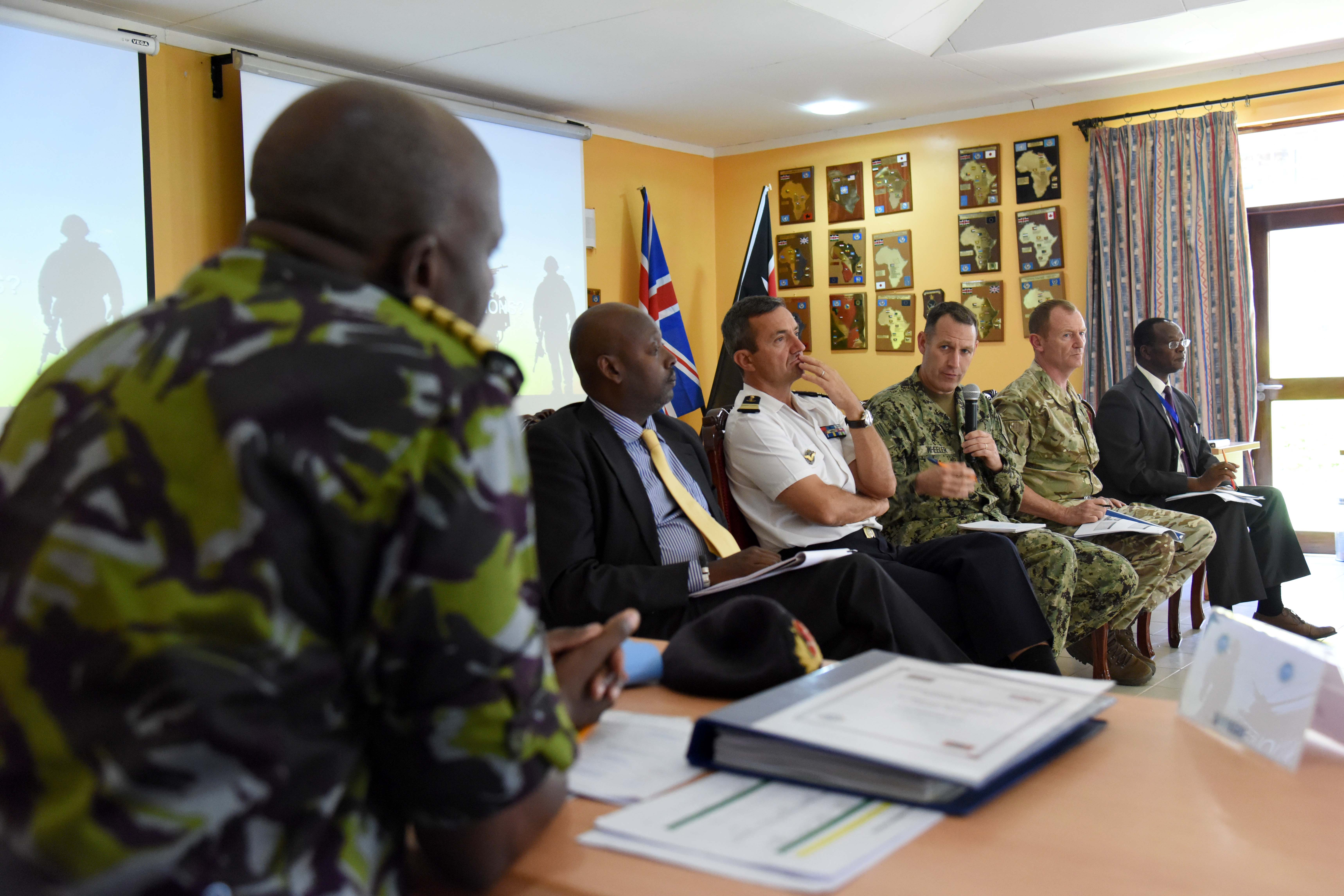 U.S. Navy Rear Adm. Trey Wheeler answers a participant's question during the Regional Senior Mission Leaders Course at the International Peace Support Training Centre in Karen, Kenya, Feb. 17, 2016. As part of the two-week course, attendees from 13 countries, including Burundi, China, Comoros, Denmark, Egypt, Kenya, Malawi, Mali, Rwanda, Somalia, South Sudan, Sudan, and the U.S., participated in a panel discussion featuring visiting senior leaders from prominent organizations working in East Africa. (U.S. Air Force photo by Staff Sgt. Victoria Sneed)