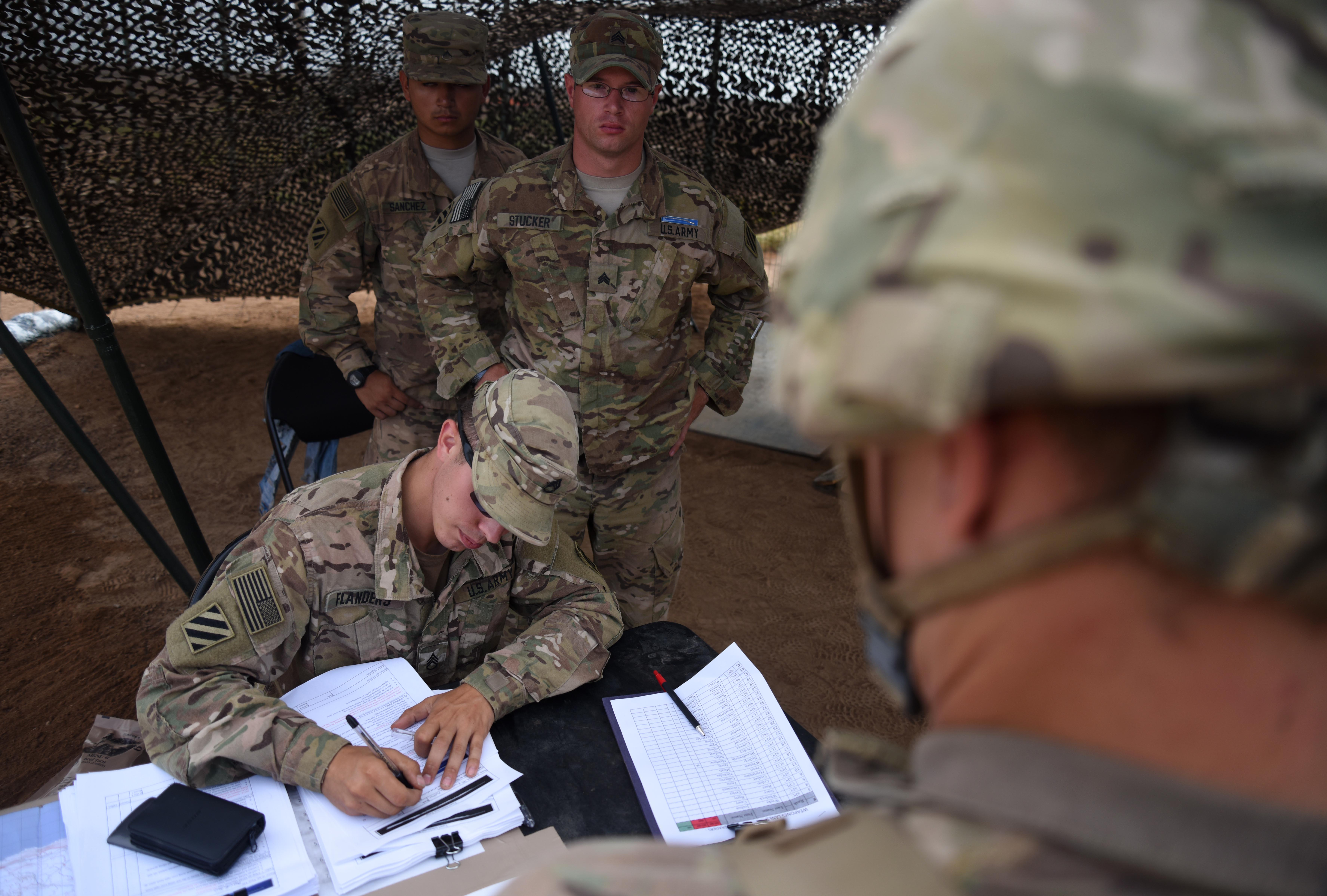 U.S. Army Expert Infantry Badge testing cadres accept a candidate for testing March 29, 2016, during the weapons portion of the EIB course at Camp Lemonnier, Djibouti. Authorities from EIB testing headquarters at Fort Benning, Ga., travelled here to make sure the course met the very high standard of every EIB test, and they approved the course, cadre and curriculum for the intense week of evaluations. (U.S. Air Force photo by Staff Sgt. Kate Thornton)