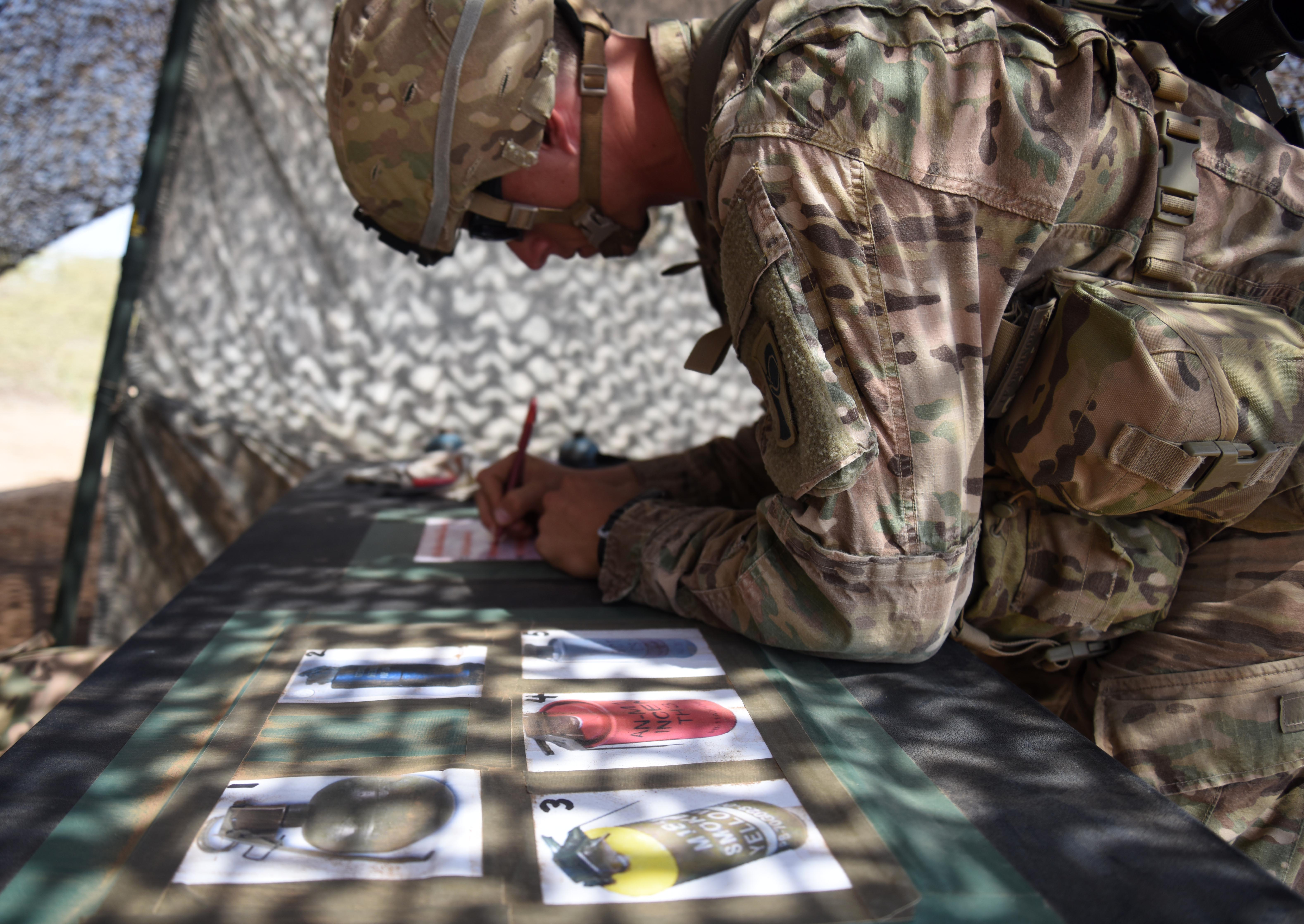 U.S. Army Expert Infantry Badge candidate completes a grenade classification test March 31, 2016, during the patrolling portion of the EIB course at Camp Lemonnier, Djibouti. After completing the grenade test, candidates had to complete two different grenade application tests where they threw them 35 feet and into a simulated enemy bunker. (U.S. Air Force photo by Staff Sgt. Kate Thornton)