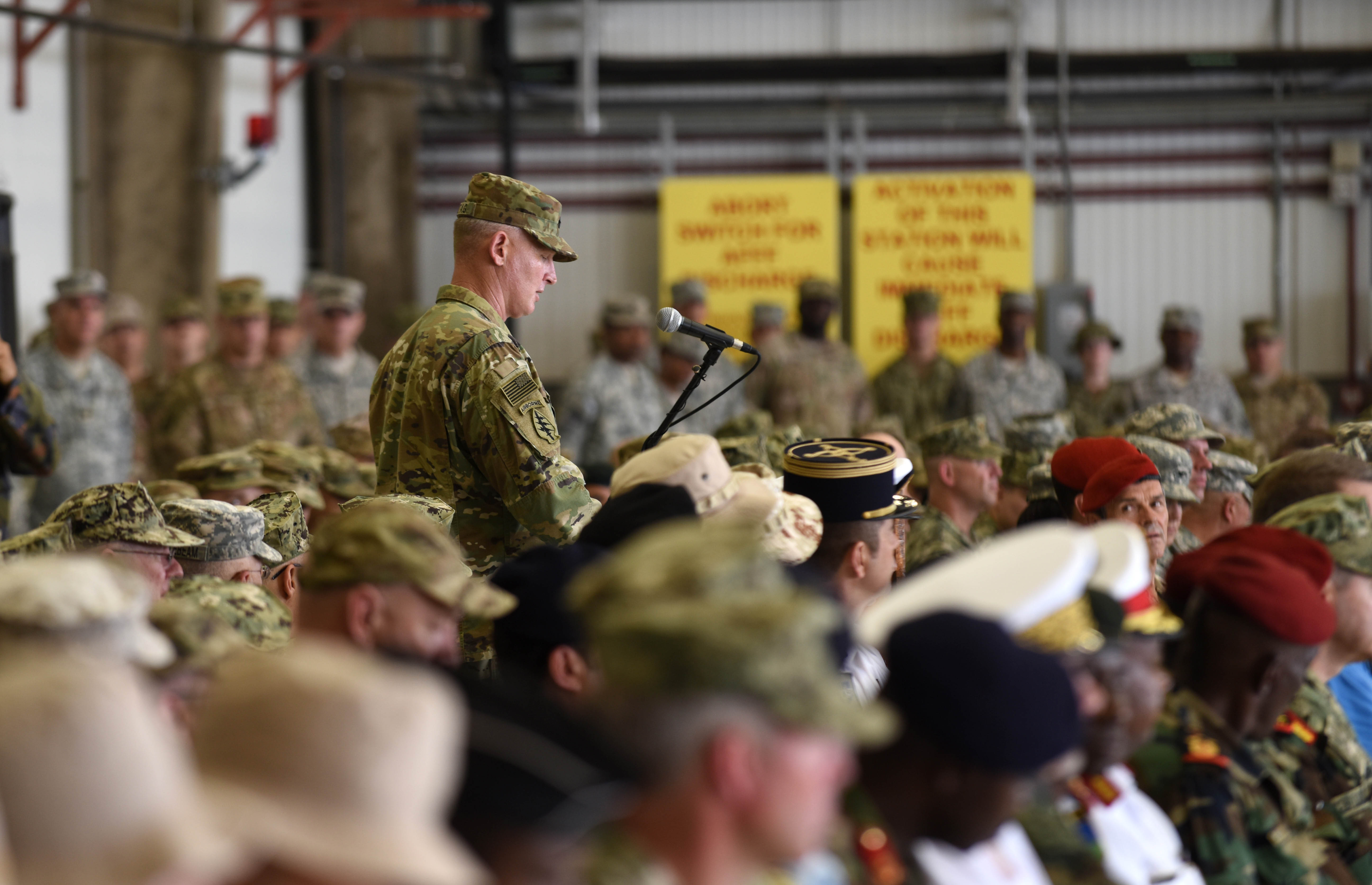 U.S. Army Brig. Gen. Kurt Sonntag, incoming Combined Joint Task Force-Horn of Africa commanding general, speaks at a change of command ceremony April 13, 2016, at Camp Lemonnier, Djibouti. Sonntag is now in command of CJTF-HOA and responsible for its impact on the East African region. (U.S. Air Force photo by Staff Sgt. Kate Thornton)