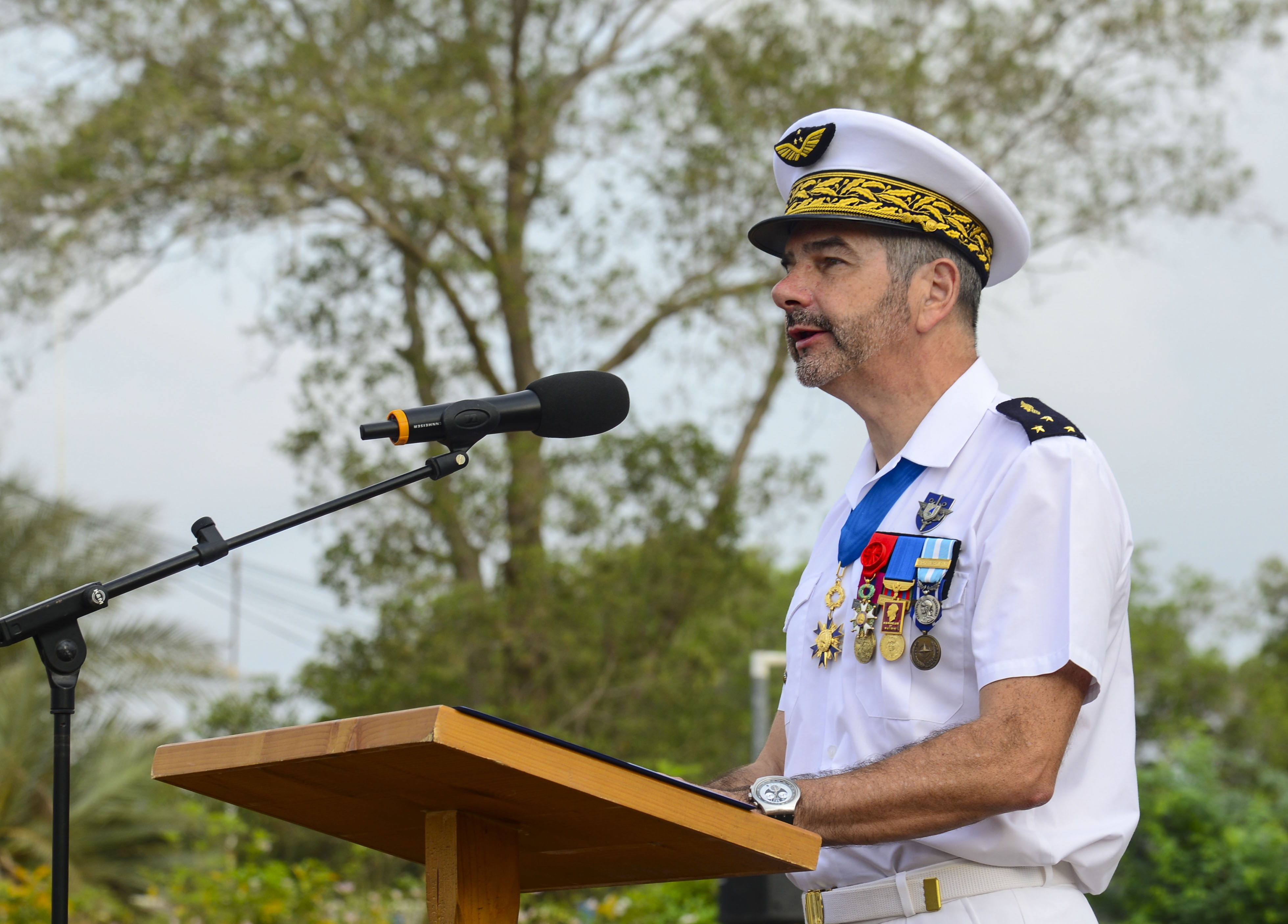 Camp Lemonnier and Combined Joint Task Force-Horn of Africa representatives and French forces in Djibouti commemorate Victory in Europe Day, May 8, 2016, at the French base in Djibouti. During the ceremony, General Philippe Montocchio, commander of French forces in Djibouti, spoke about one of the strongest elements of the war, the men and women across Europe resisting against the invading enemy. V-E Day, observed annually in France, celebrates the victory in Europe, ending World War II, and became a national French holiday. Charles de Gaulle, who led the French forces during the war, declared the victory of the Allied Armies and the United Nations over Germany, May 8, 1945. (U.S. Air Force photo by Senior Airman Benjamin Raughton/Released)