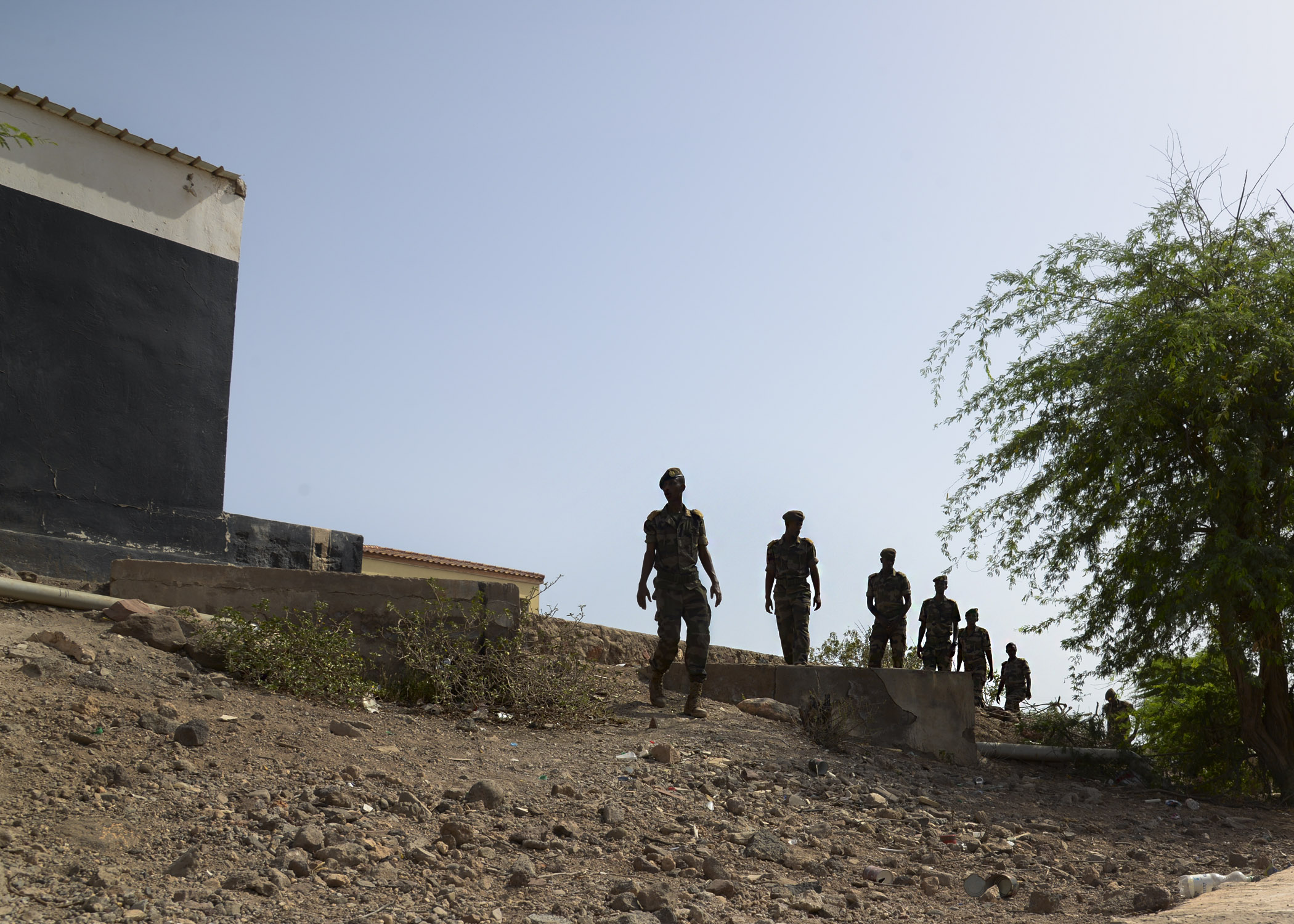A team of Djiboutian Army cadets patrol for roadside bombs during an improvised explosive device response training at Arta, Djibouti, May 18, 2016. The U.S. Navy-led course taught the cadets the fundamentals of patrolling and looking for signs of possible IEDs and what to do in case of a detonation or emergency. (U.S. Air Force photo by Senior Airman Benjamin Raughton/Released)