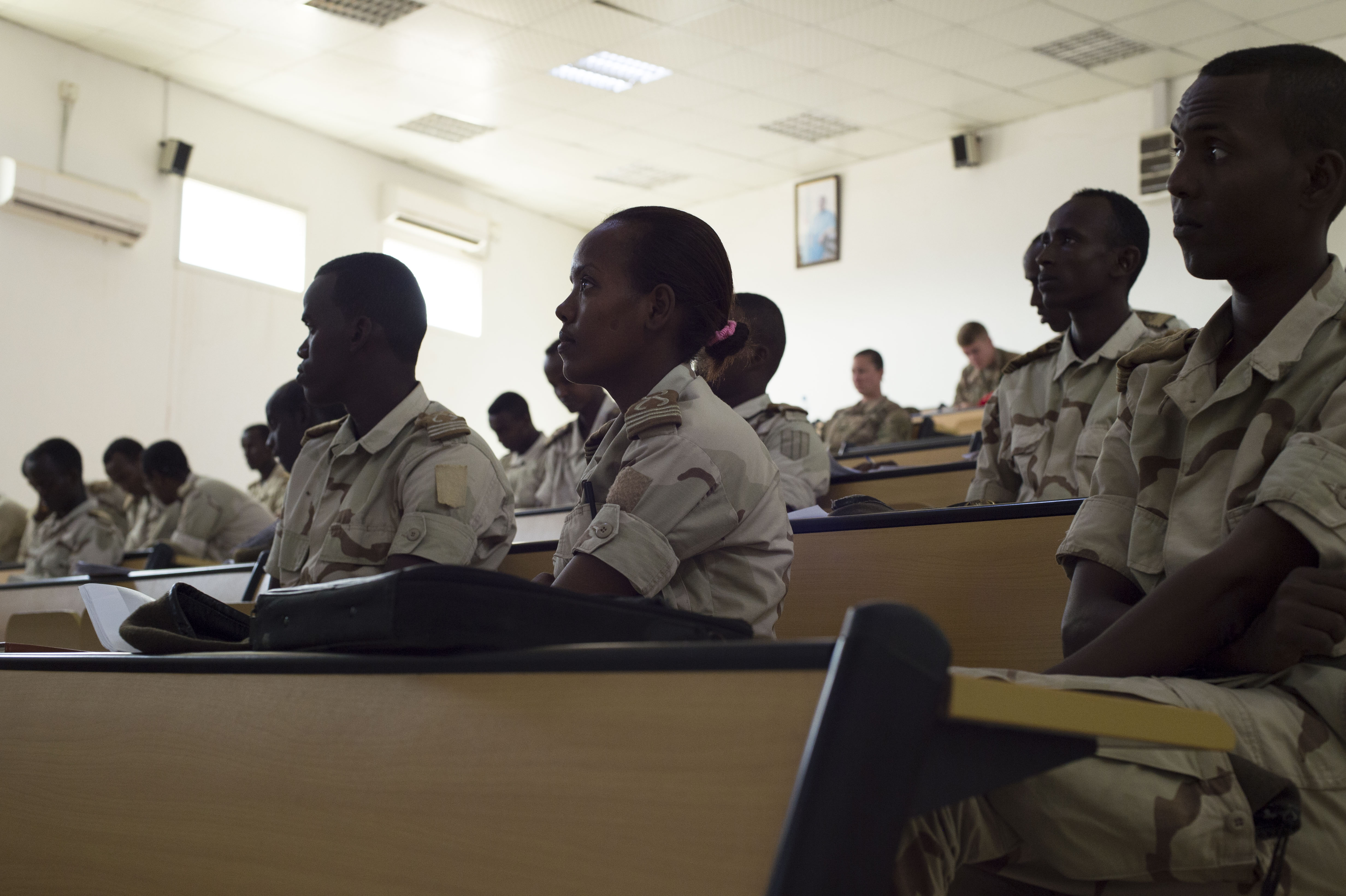 Djibouti's Arta Interservices Military Academy cadets listen as members from the U.S. Army 403rd Civil Affairs Battalion teach about the importance of developing relations with host nation locals during Civil Military Cooperation training May 17, 2016, at Arta, Djibouti.  The two-week training taught the cadets communication skills to use when they deploy to Somalia. (U.S. Air Force photo by Staff Sgt. Eric Summers Jr.)