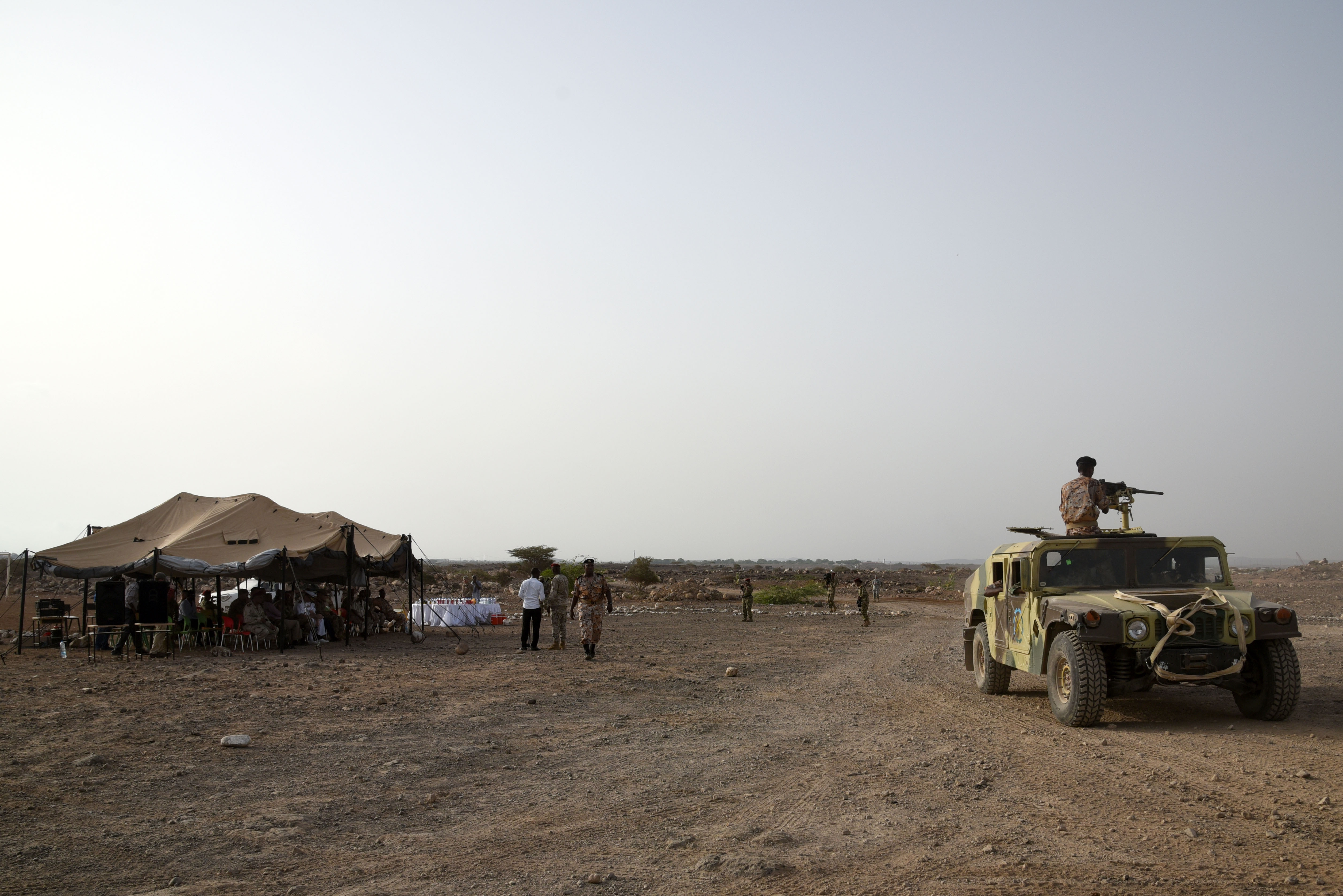 CAMP CHEIK OSMAN, Djibouti – Djiboutian Armed Forces(FAD) Soldiers demonstrate the collective skills they learned from a five month area logistics training instructed by U.S. Army Regionally Aligned Forces Soldiers at their training graduation, May 19, 2016, at Camp Cheik Osman, Djibouti. Beginning in January 2016, the FAD Soldiers learned basic logistics functions, supply, economy, warehouse operations, maintenance along with rifle marksmanship, convoy operations and heavy weapons. (U.S. Air Force photo by Staff Sgt. Tiffany DeNault)