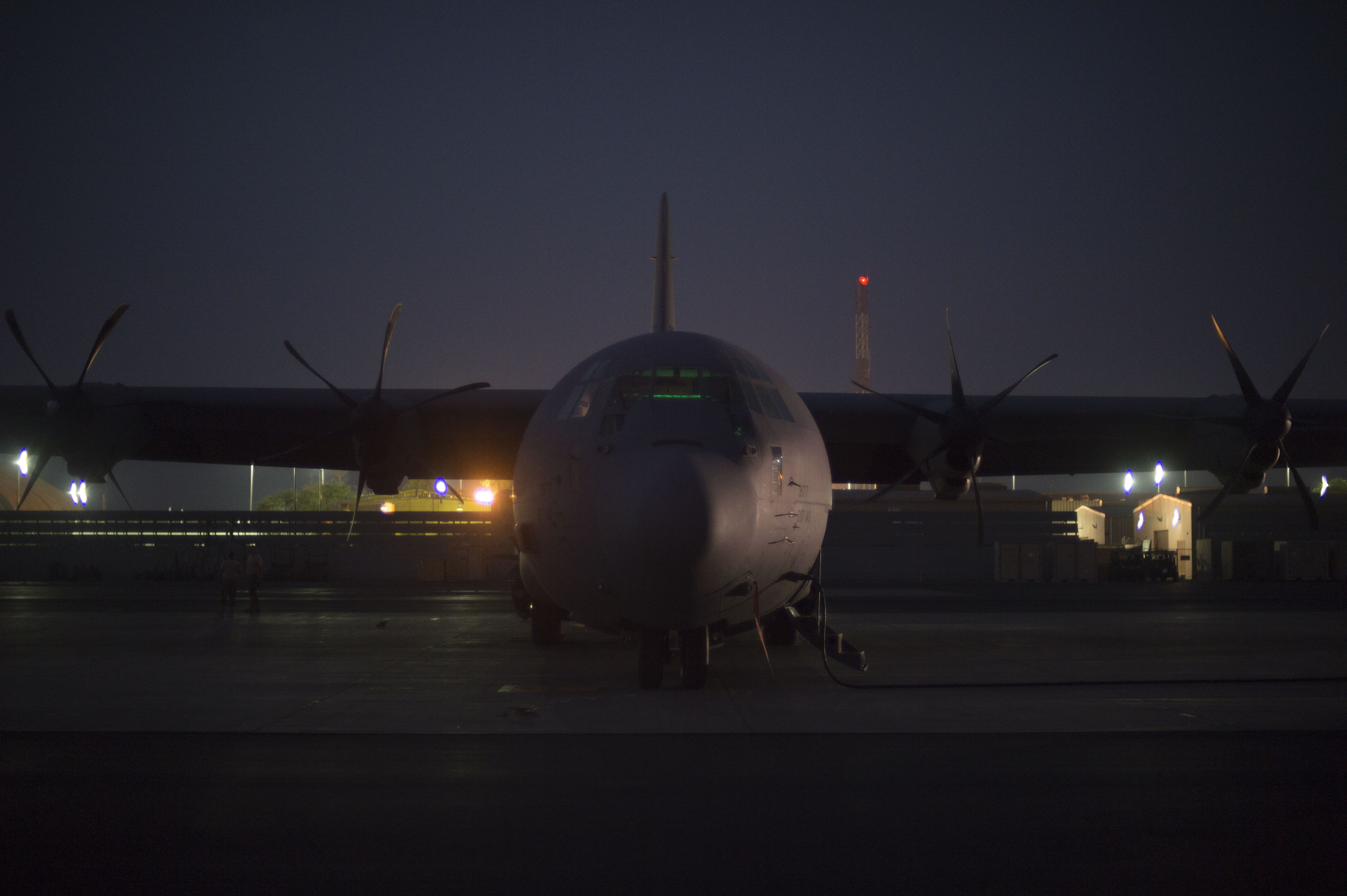 A U.S. Air Force C-130J Hercules rests on the airfield in preparation for cargo and passengers to be transported during an East African Response Force validation exercise May 27, 2016, at Camp Lemonnier, Djibouti.  The Hercules and its crewmembers are deployed from Dyess Air Force Base, Texas. (U.S. Air Force photo by Staff Sgt. Eric Summers Jr.)