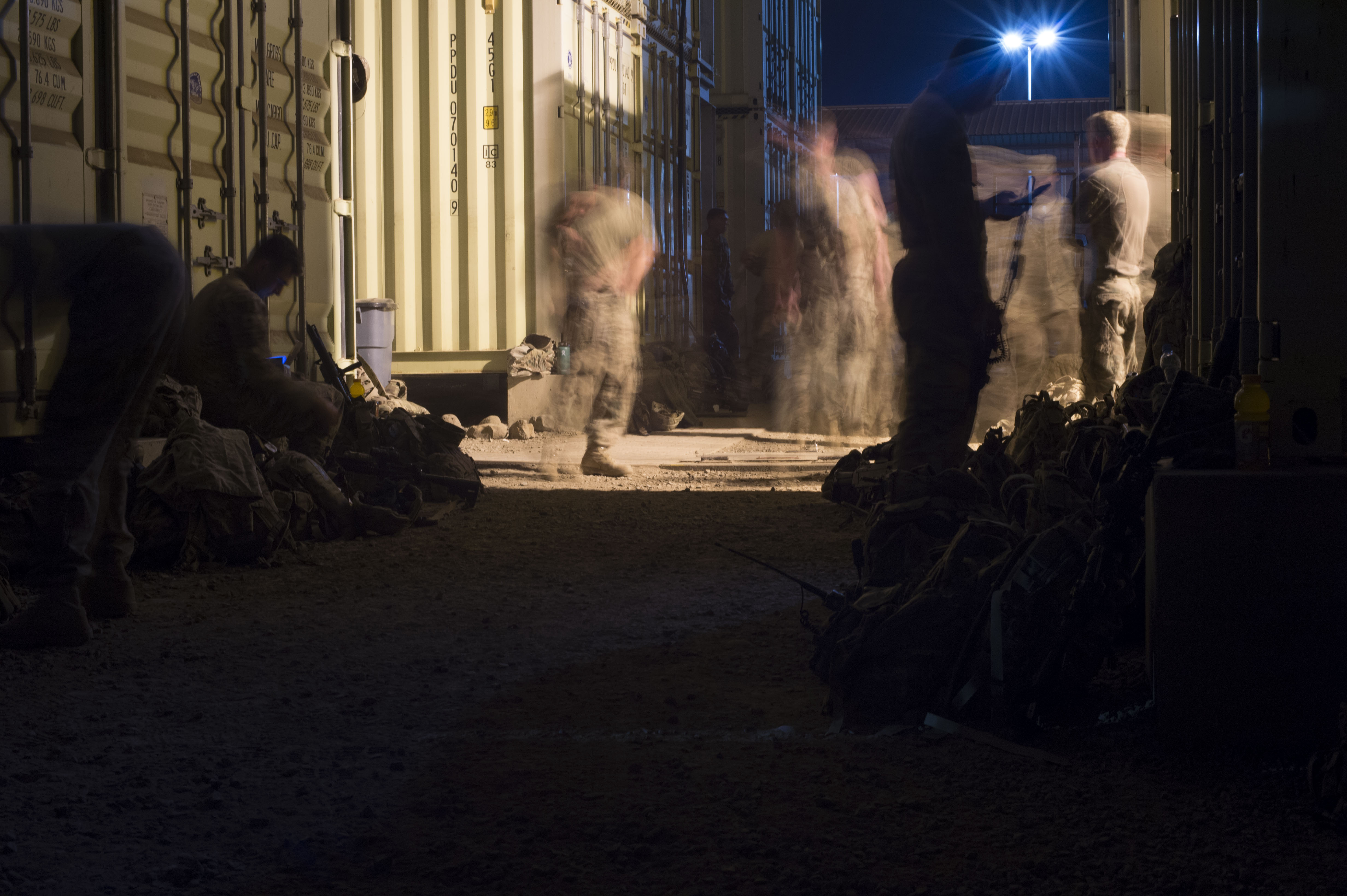 Members of the Combined Joint Task Force Horn of Africa's East African Response Force check and pack gear before loading onto an aircraft during an EARF exercise May 27, 2016, at Camp Lemonnier, Djibouti.  CJTF-HOA planned and executed the validation after  1st Battalion, 124th Infantry Regiment, or Task Force Hurricane, from Miami, Fla., assumed responsibility of the EARF mission from  2nd Battalion, 124th Infantry Regiment, or Task Force Seminole, who will return to Orlando, Fla. (U.S. Air Force photo by Staff Sgt. Eric Summers Jr.)