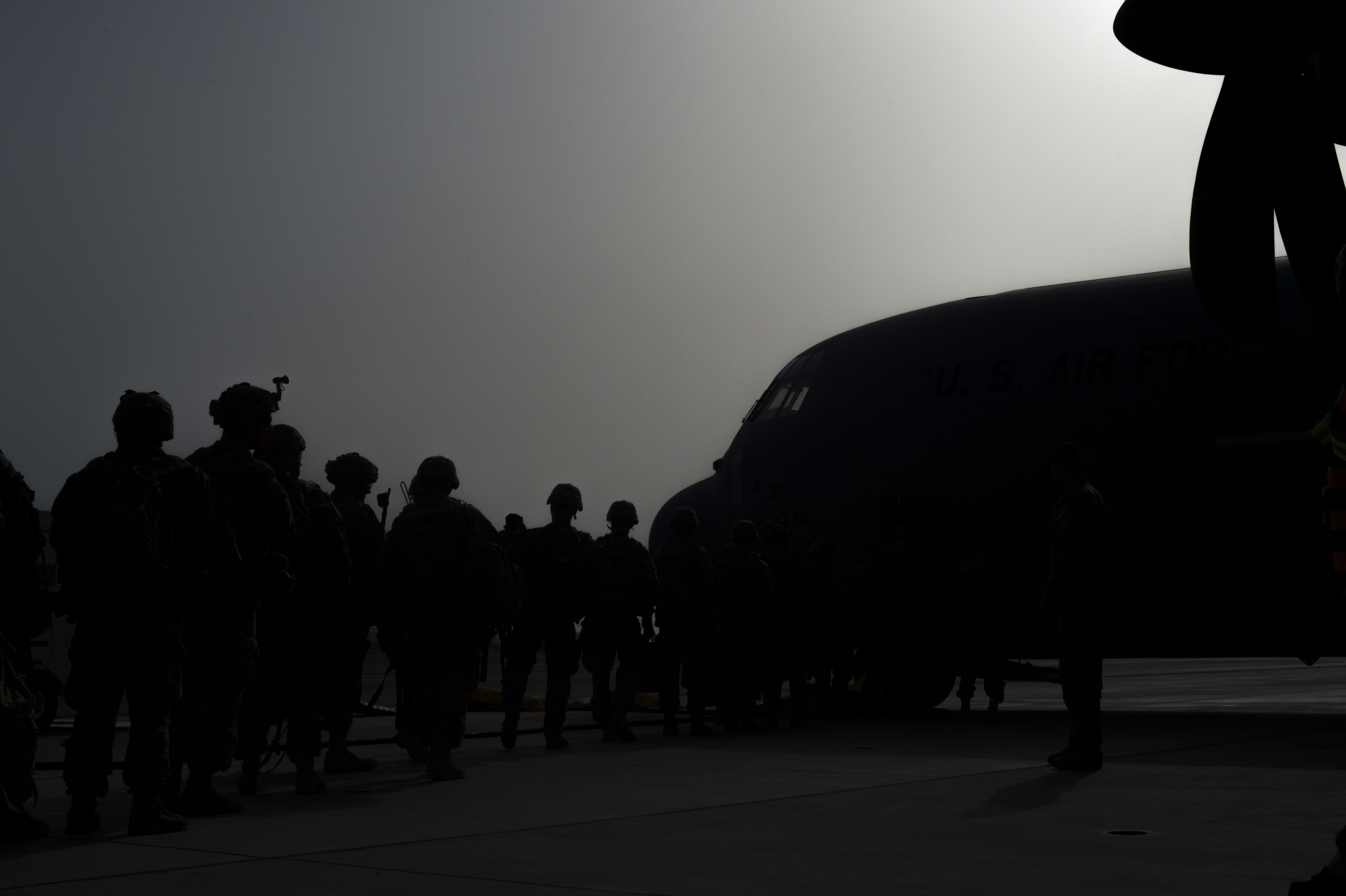 Members of the East African Response Force board a U.S. Air Force C-130J Hercules during an EARF validation exercise May 27, 2016, at Camp Lemonnier, Djibouti. The exercise scenario tested Combined Joint Task Force-Horn of Africa's ability to rapidly stage and deploy the EARF during a crisis in the East Africa region. (U.S. Air Force photo by Staff Sgt. Eric Summers Jr.)