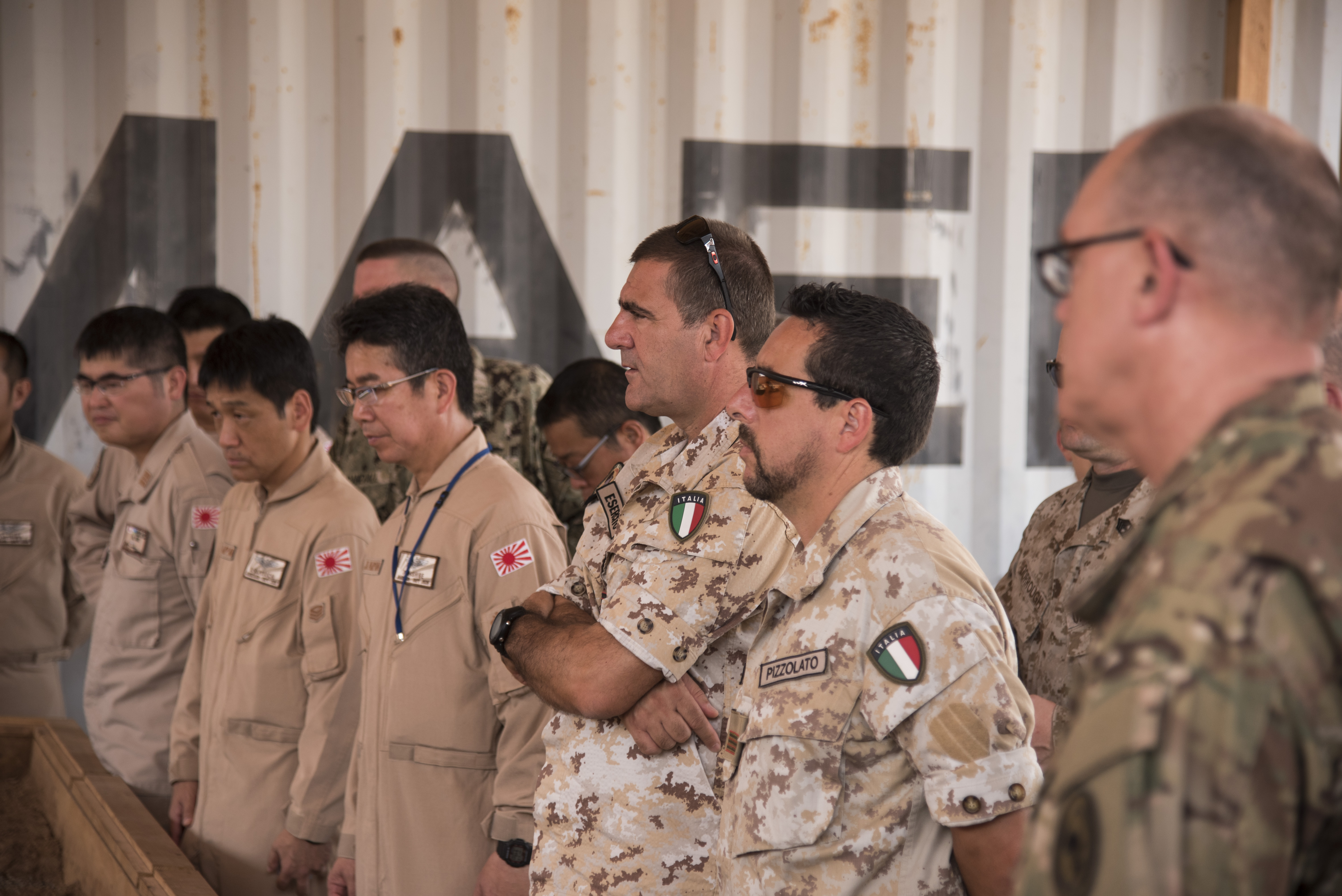 DJIBOUTI- Senior enlisted leaders from Japan, Italy and the U.S. attend the Combined Joint Forces Senior Enlisted Leader Professional Development course, June 8, 2016, at Djibouti. The course is scheduled to happen approximately every two months, and the coalition partners take turns hosting it at their respective bases. (U.S. Air Force photo by Staff Sgt. Tiffany DeNault)