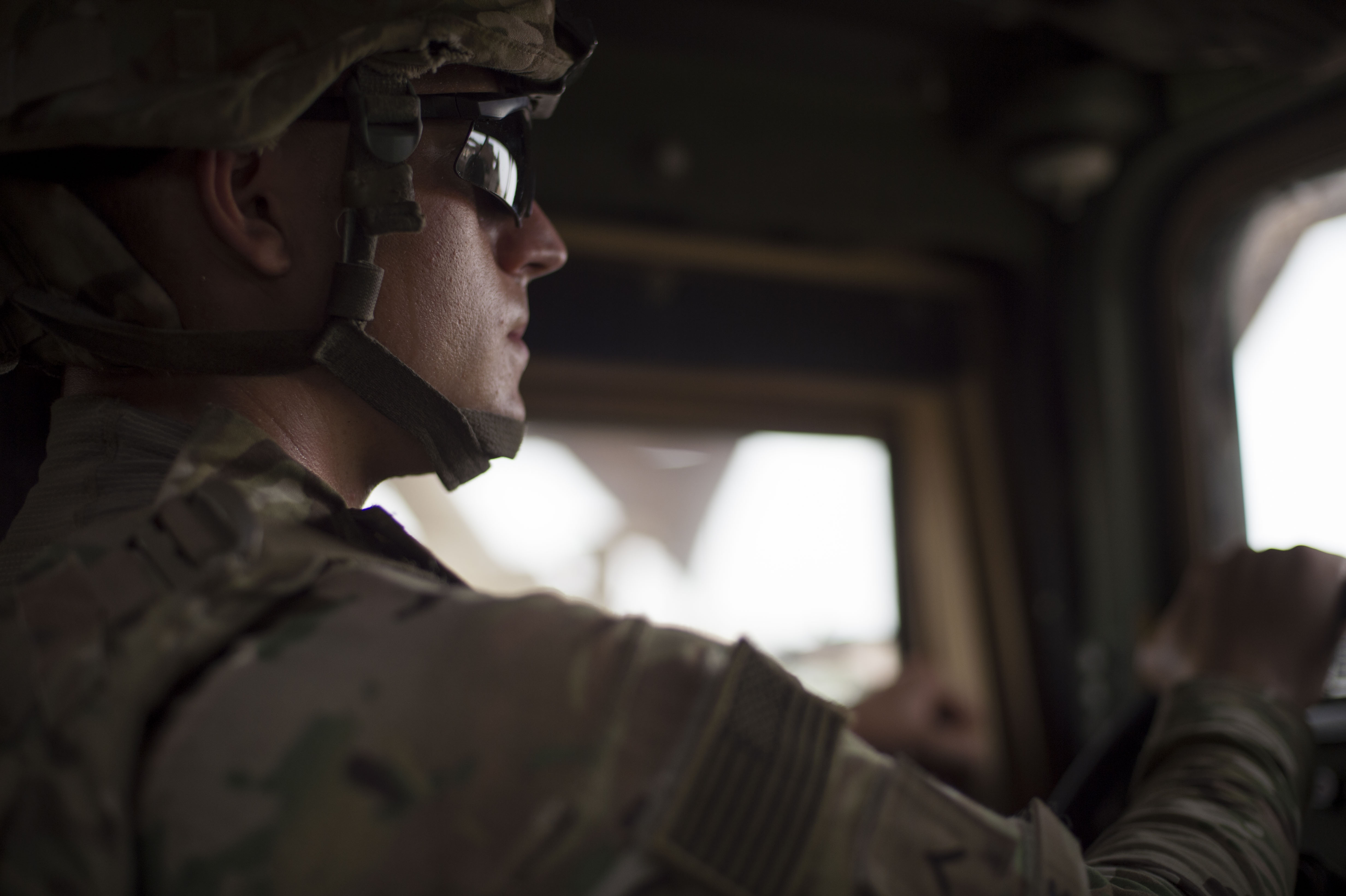 U.S. Army Pfc. Corey Boyce, Combined Joint Task Force-Horn of Africa Quick Reaction Force team member, drives a Humvee during a mission June 20, 2016, at Camp Lemonnier, Djibouti. Boyce, a native of Palm Beach Gardens, Fla., is a part of the 1st Battalion, 124th Infantry Regiment that assumed the QRF mission in May. (U.S. Air Force photo by Staff Sgt. Eric Summers Jr.)