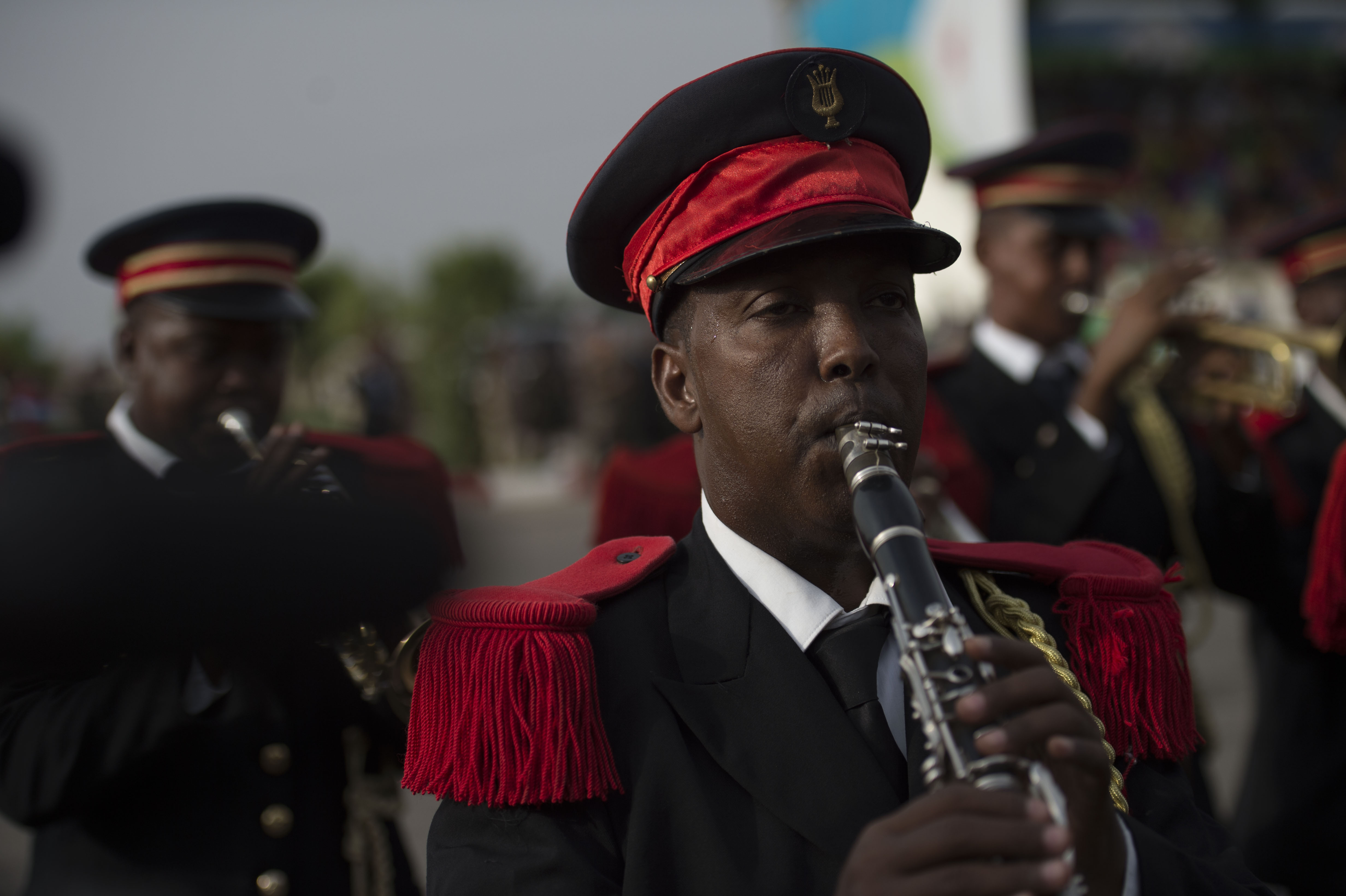 A Djiboutian band member plays a clarinet during the Djibouti Independence Day parade June 27, 2016, at Djibouti. Service members from all Djiboutian military branches participated in the parade along with law enforcement. (U.S. Air Force photo by Staff Sgt. Eric Summers Jr.)
