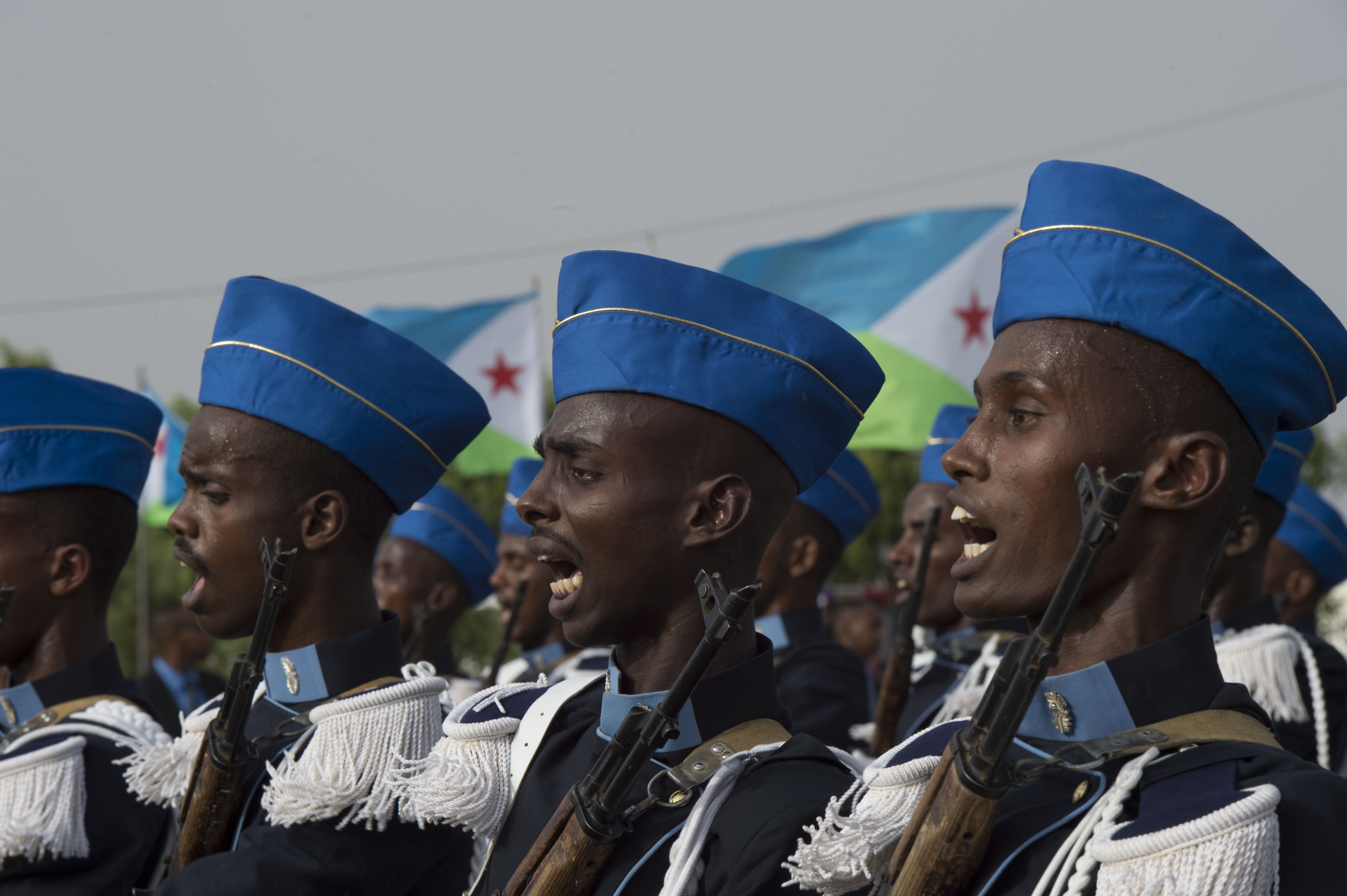 Members of the Djibouti Armed Forces shout cadences while marching during the Djibouti Independence Day parade June 27, 2016, at Djibouti. Today marked the 39th year since Djibouti declared its independence. (U.S. Air Force photo by Staff Sgt. Eric Summers Jr.)