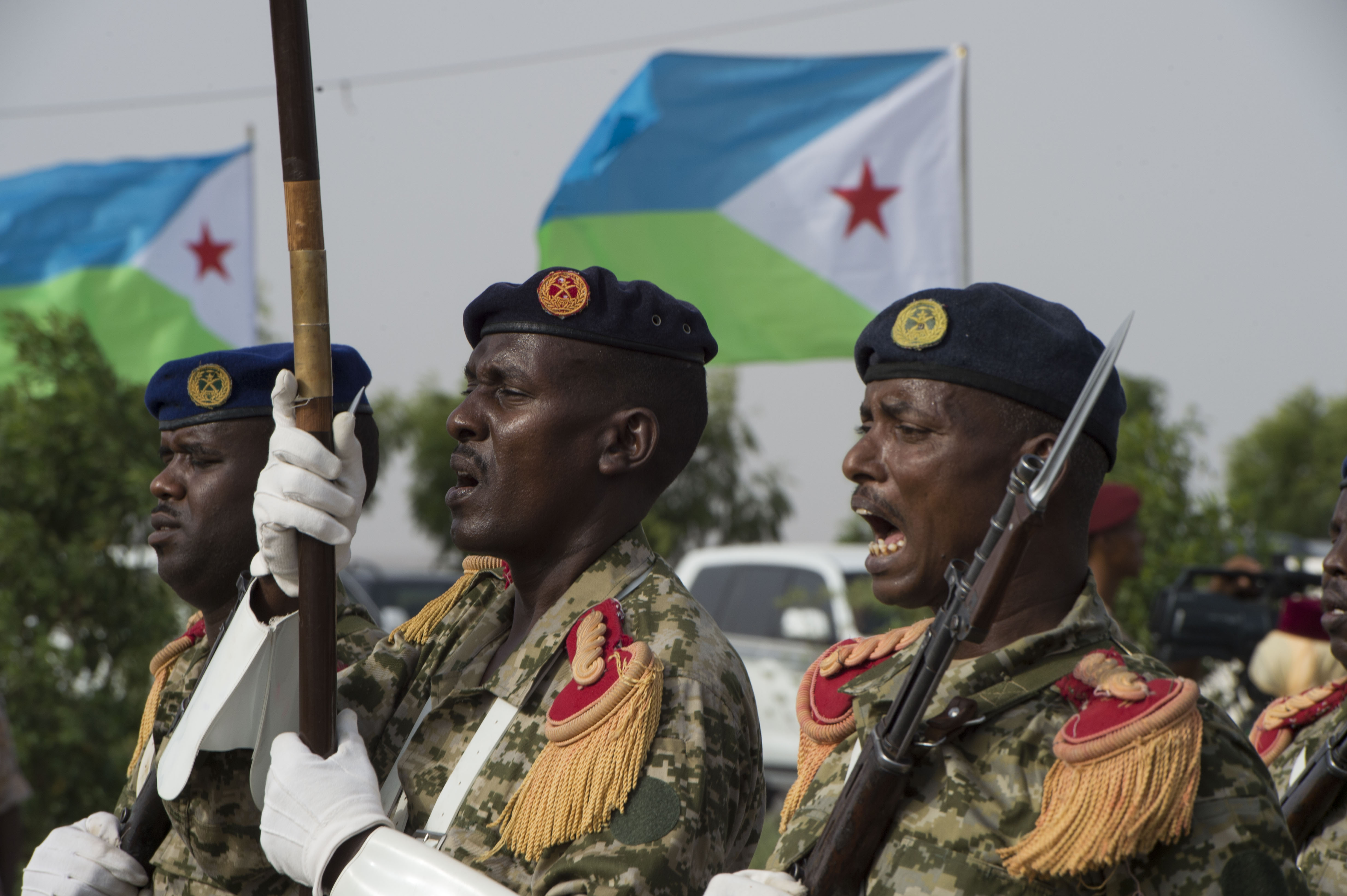 Members of the Djiboutian Armed Forces shout cadences while marching during the Djibouti Independence Day parade June 27, 2016, at Djibouti. Today marked the 39th year since Djibouti declared its independence. (U.S. Air Force photo by Staff Sgt. Eric Summers Jr.)