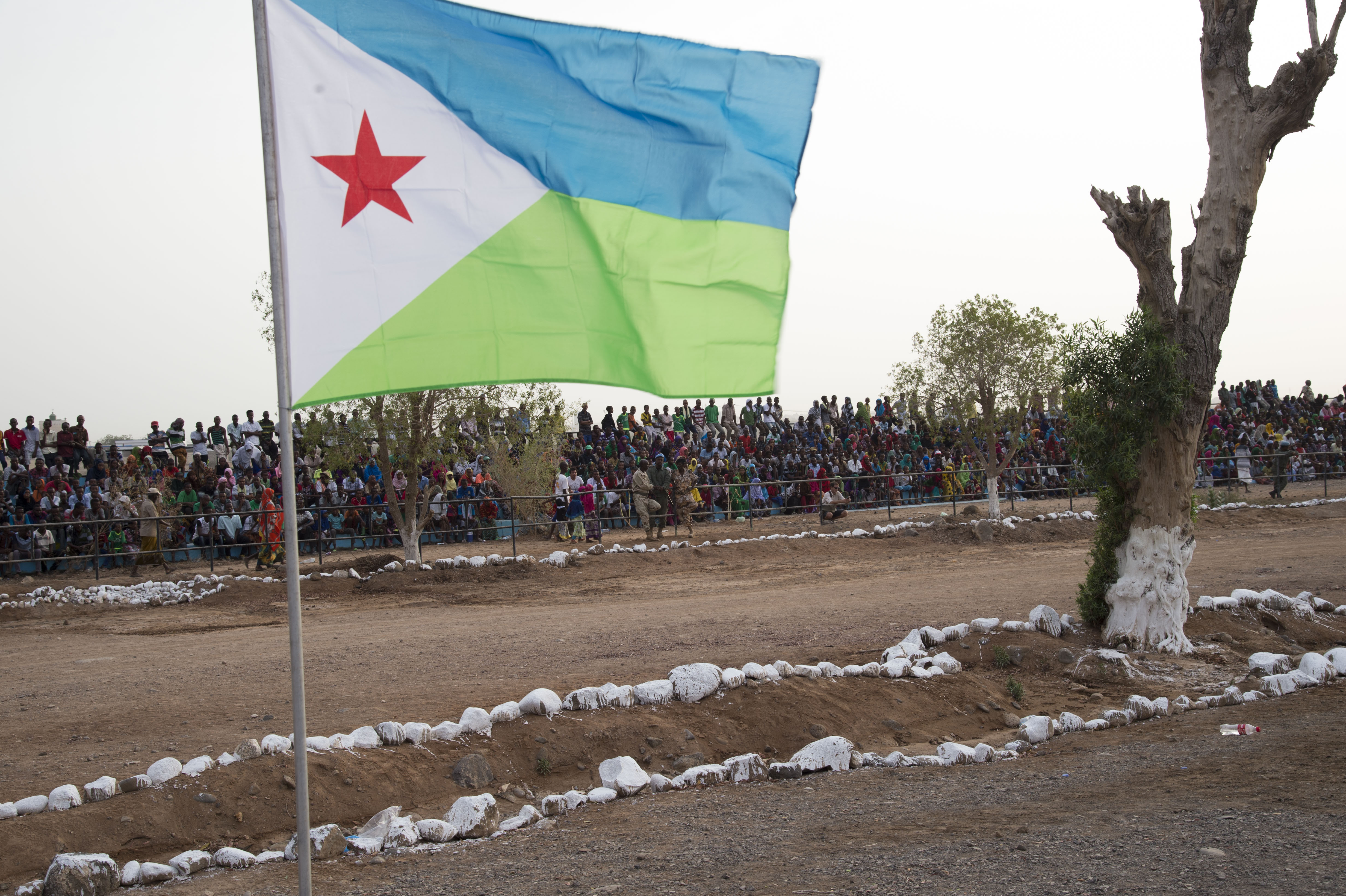 Crowds fill bleachers to watch the Djibouti Independence Day parade, June 27, 2016, at Djibouti. Thousands of Djiboutian citizens came to the  event to watch the demonstrations by the Djiboutian military and law enforcement. (U.S. Air Force photo by Staff Sgt. Eric Summers Jr.)