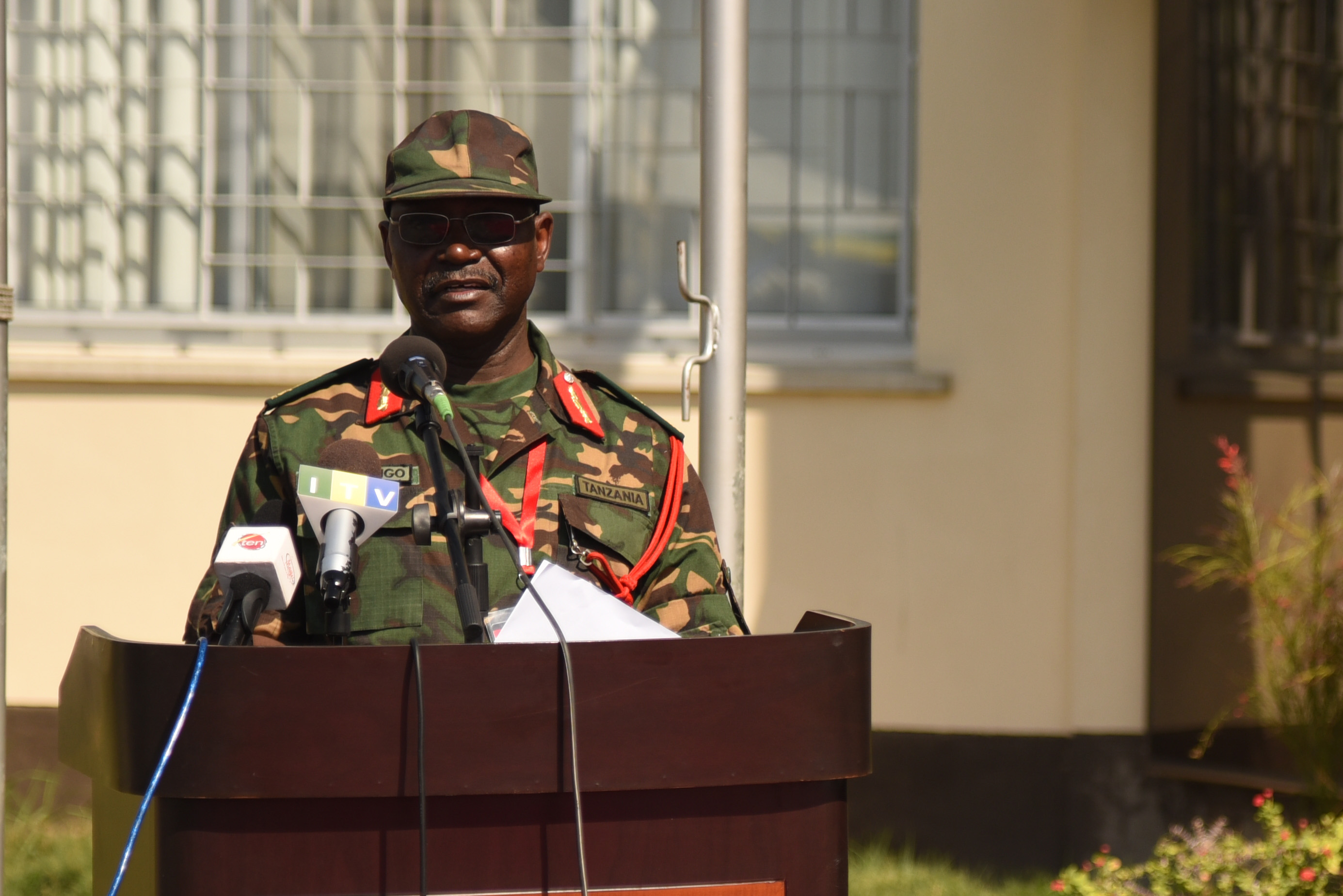 DAR ES SALAAM, Tanzania – Tanzanian Brig. Gen. Yohana Ocholla Mabongo, Eastern Accord 2016 exercise co-director, welcomes the participants to the Eastern Accord 2016 command post exercise during the Opening Ceremony at the Tanzanian Peacekeeping Training Centre on July, 11, 2016, in Dar es Salaam, Tanzania. EA16 is an annual, combined, joint military exercise that brings together partner nations to practice and demonstrate proficiency in conducting peacekeeping operations. (U.S. Air Force photo by Staff Sgt. Tiffany DeNault)