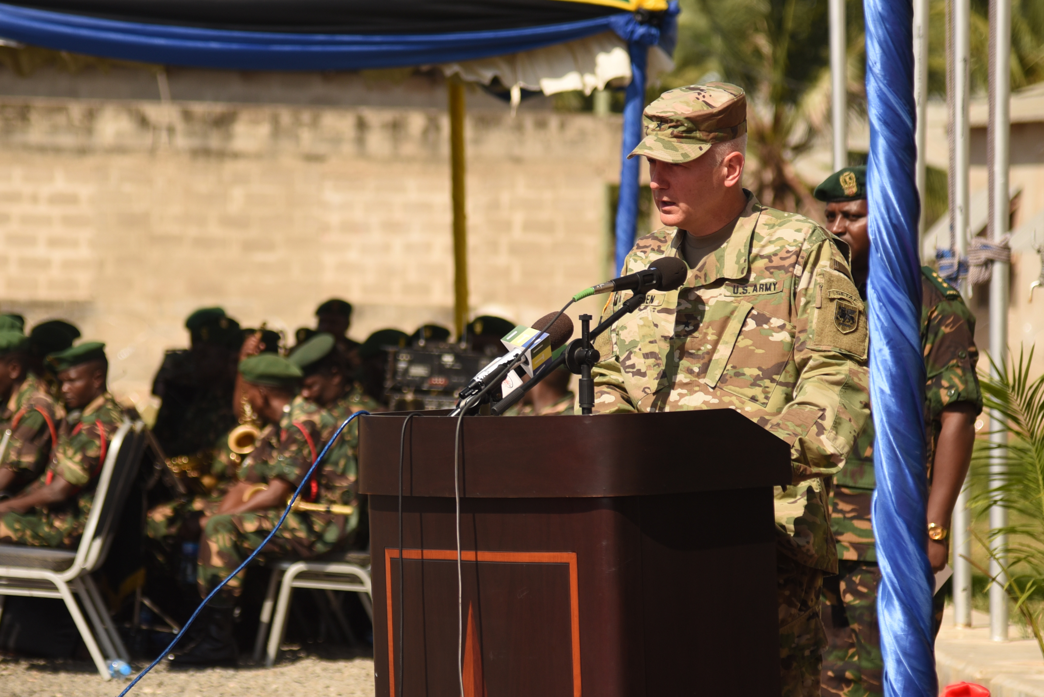 DAR ES SALAAM, Tanzania – U.S. Army Brig. Gen. Jon Jensen, U.S. Army Africa deputy commanding general and co-exercise director, welcomes participants to the Eastern Accord 2016 command post exercise during the opening ceremony at the Tanzanian Peacekeeping Training Centre on July, 11, 2016, Dar es Salaam, Tanzania. EA16 is an annual, combined, joint military exercise that brings together partner nations to practice and demonstrate proficiency in conducting peacekeeping operations. (U.S. Air Force photo by Staff Sgt. Tiffany DeNault)