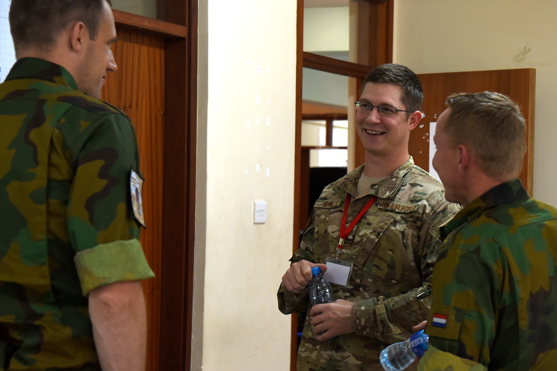 DAR ES SALAAM, Tanzania- U.S. Air Force 1st Lt. Adam Byne, Combined Joint Task Force-Horn of Africa plans officer and Eastern Accord 2016 observer controller/trainer, participates in the command post exercise at the Tanzanian Peacekeeping Training Centre, July 19, 2016, in Dar es Salaam, Tanzania. EA16 is an annual, combined, joint military exercise that brings together partner nations to practice and demonstrate proficiency in conducting peacekeeping operations. (U.S. Air Force photo by Staff Sgt. Tiffany DeNault)