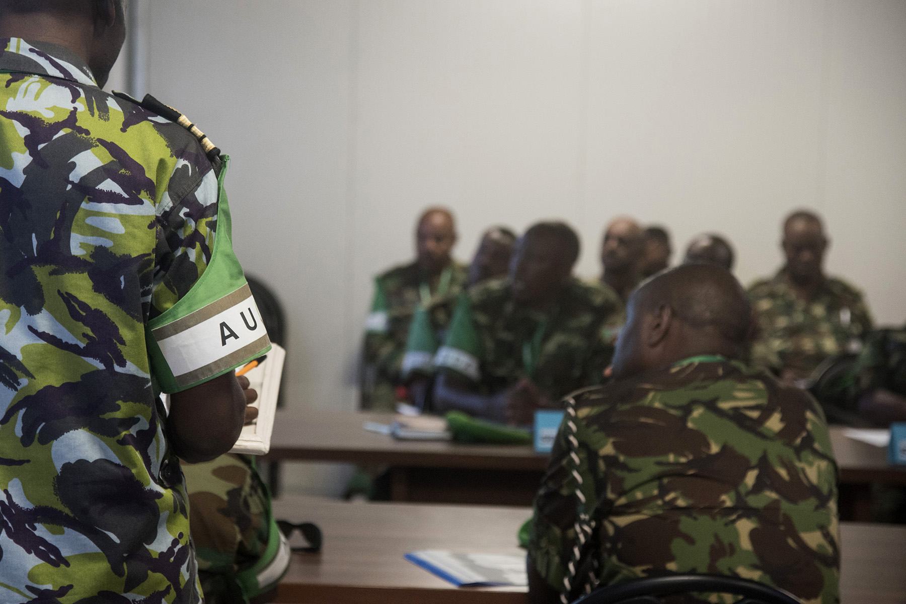 MOGADISHU, Somalia- African Union Mission in Somalia/Somali National Army Sector Commanders attend a sector commanders' conference, Aug. 25, 2016, at the AMISOM Force Headquarters in Mogadishu, Somalia. The conference brings together senior military leaders from coalition partners and the sectors to review efficiency and needed improvements for security operations and SNA collaboration strategies. (U.S. Air Force photo by Staff Sgt. Tiffany DeNault)